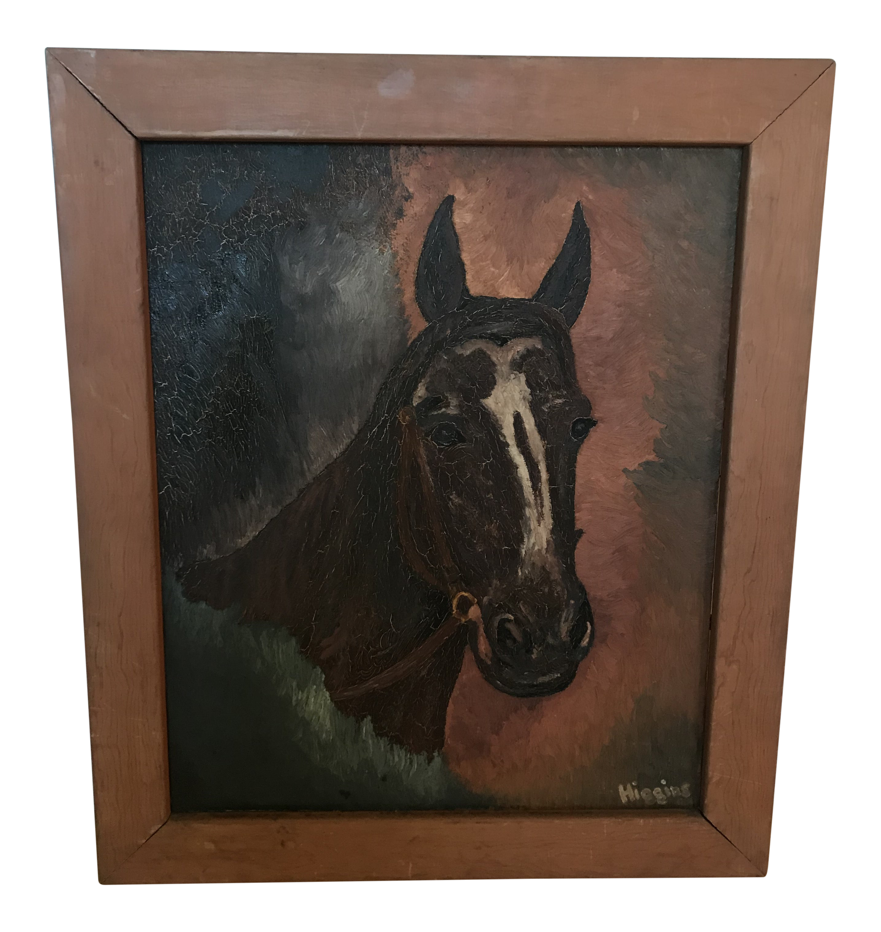 Vintage Textured Horse Head Painting Framed Chairish