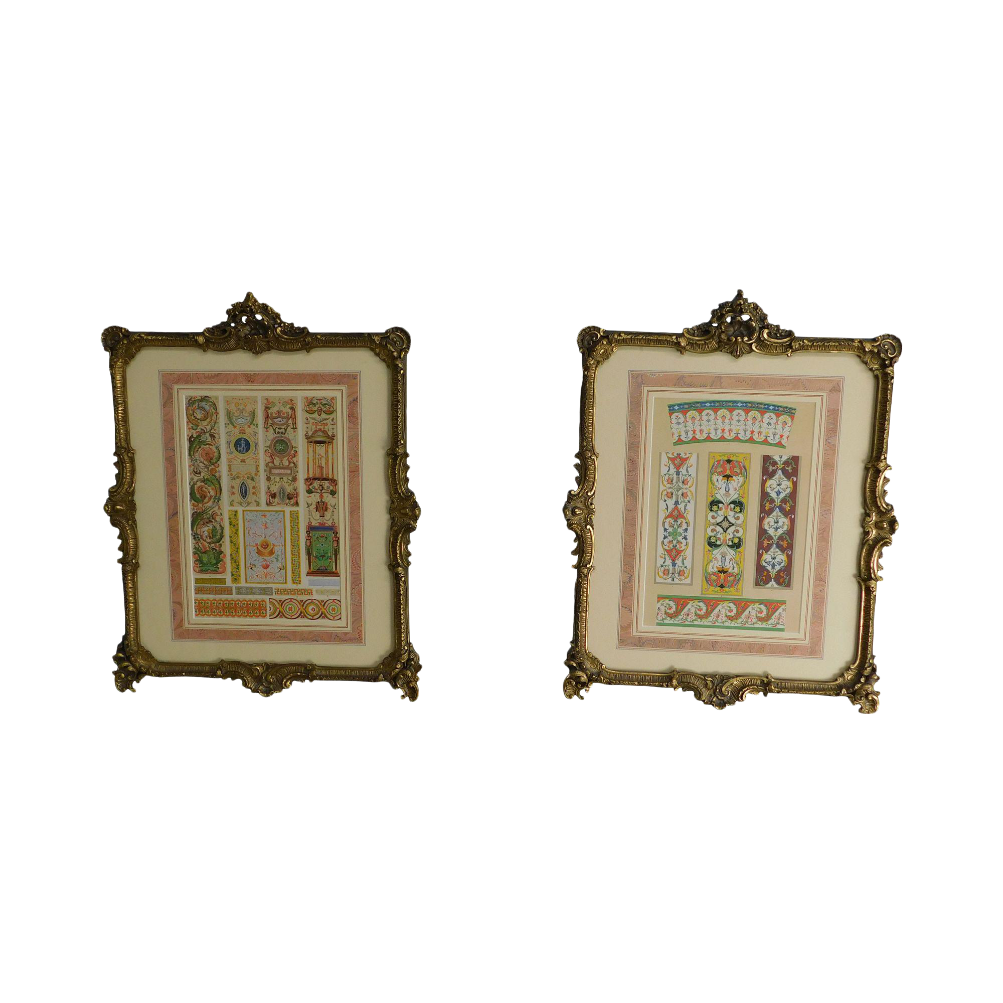 Rococo Gilt Framed Pair Of Prints Showing Samples Of Decorative