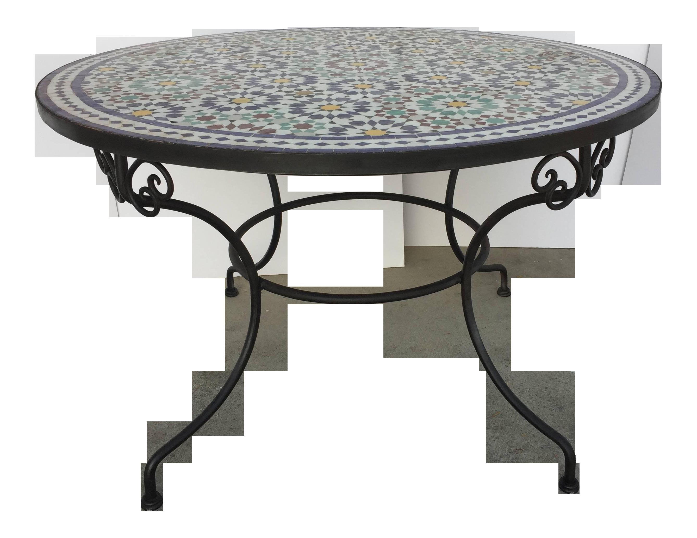 Moroccan Fez Moorish Design Round Mosaic Outdoor Tile Table Chairish