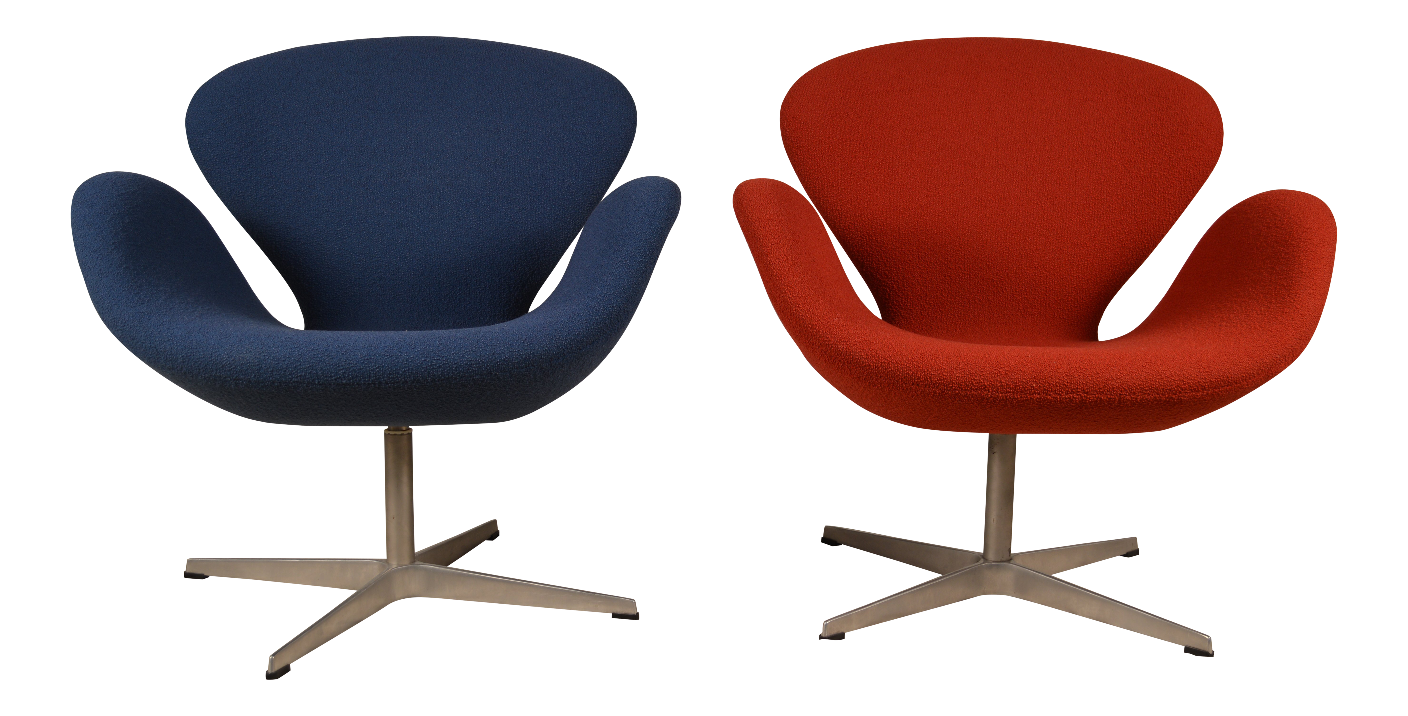 Mid Century Modern Fritz Hansen Red And Blue Upholstered Swan Chairs   A  Pair | Chairish