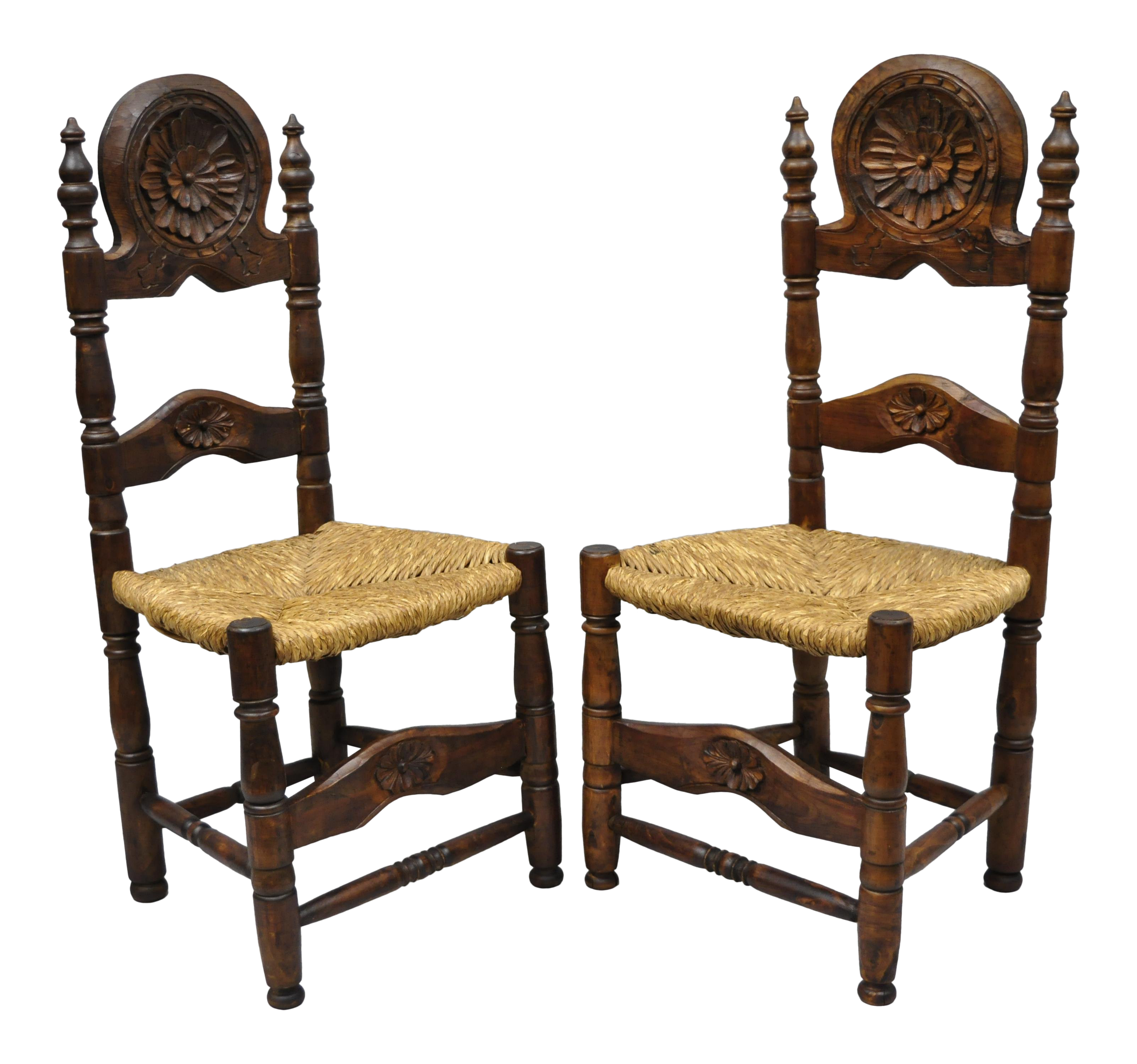 Carved pine wood country french rush seat ladder back side chair a pair chairish