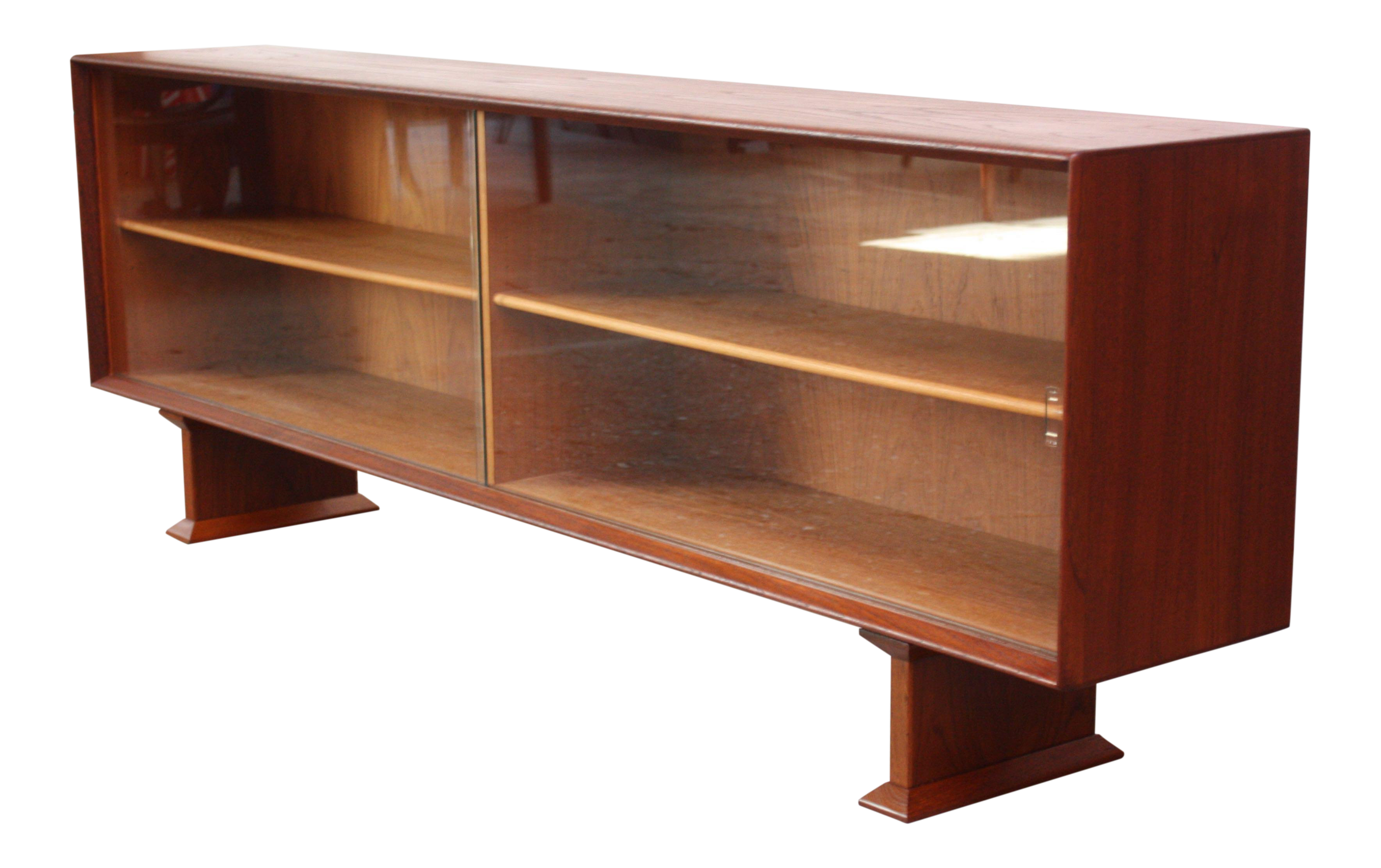 Danish Credenza Los Angeles : Danish modern low teak and glass credenza chairish