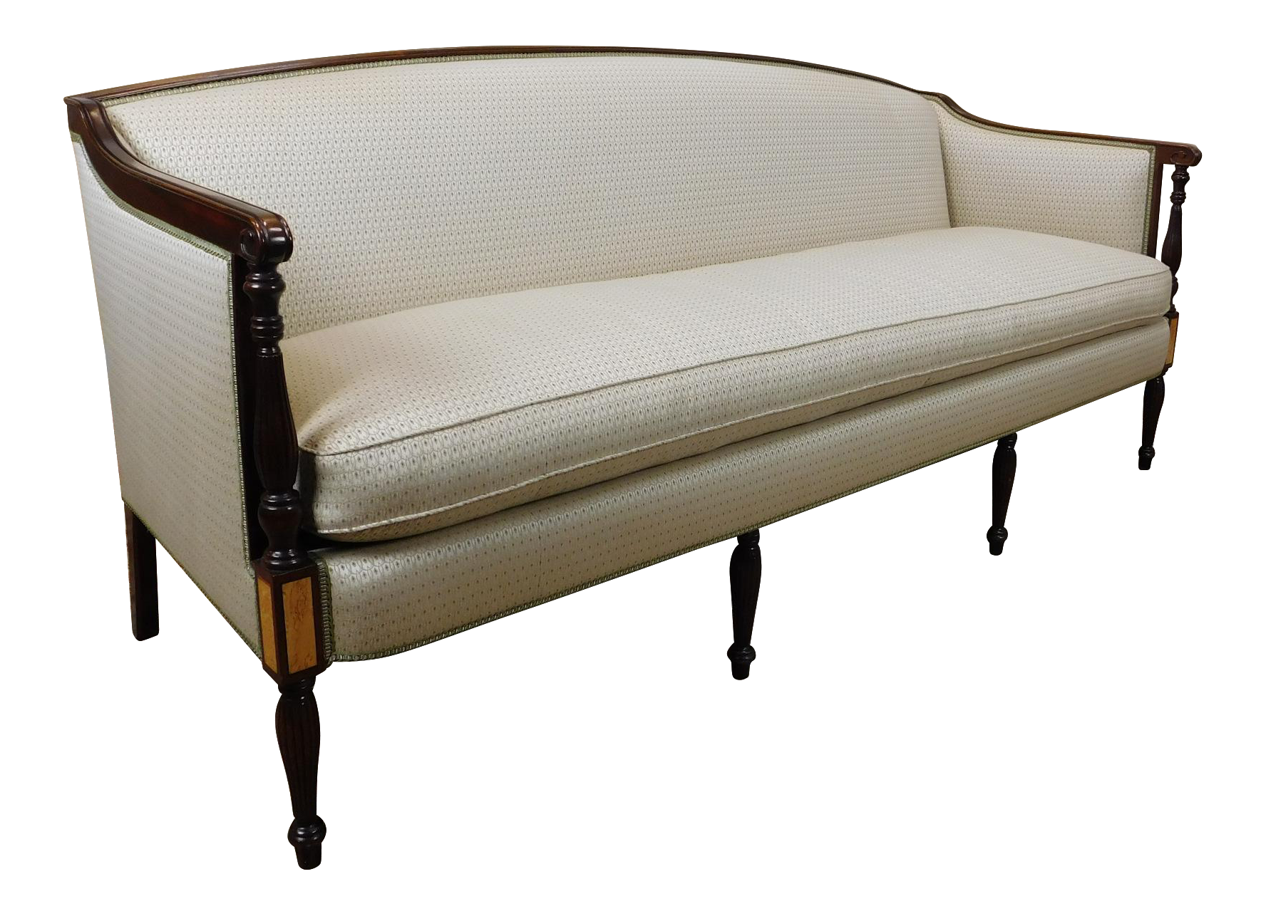 Recently Reupholstered Mahogany Hickory Chair James River Collection  Sheraton Style Sofa | Chairish