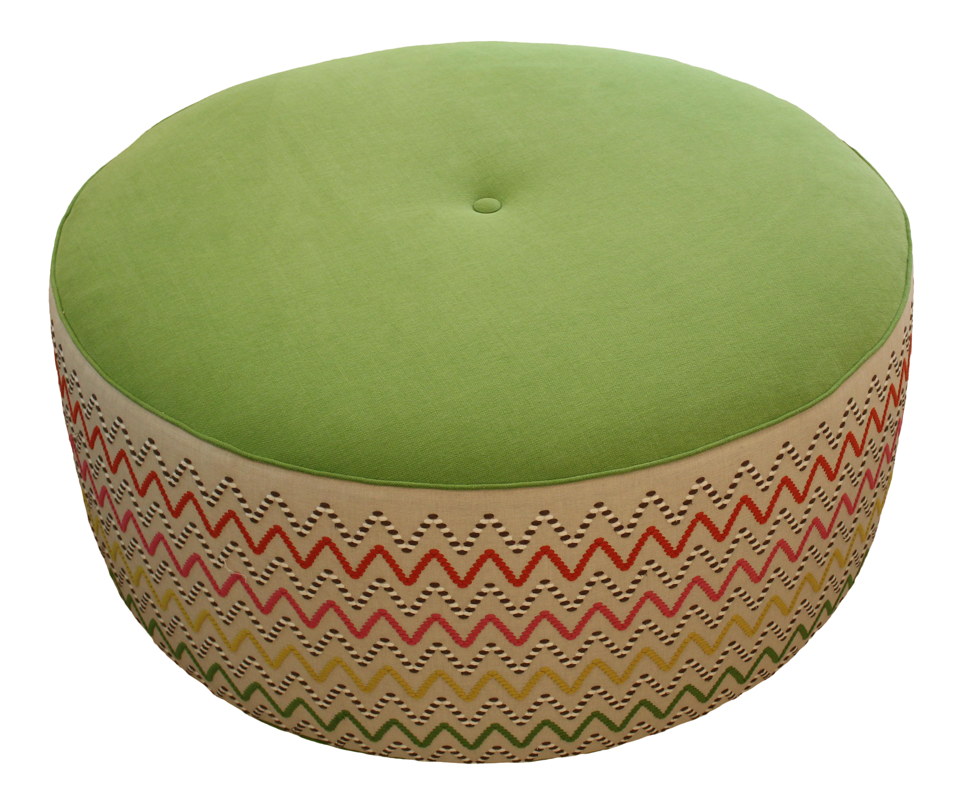 Superb Colorful Zig Zag Fabric Round Ottoman Ocoug Best Dining Table And Chair Ideas Images Ocougorg