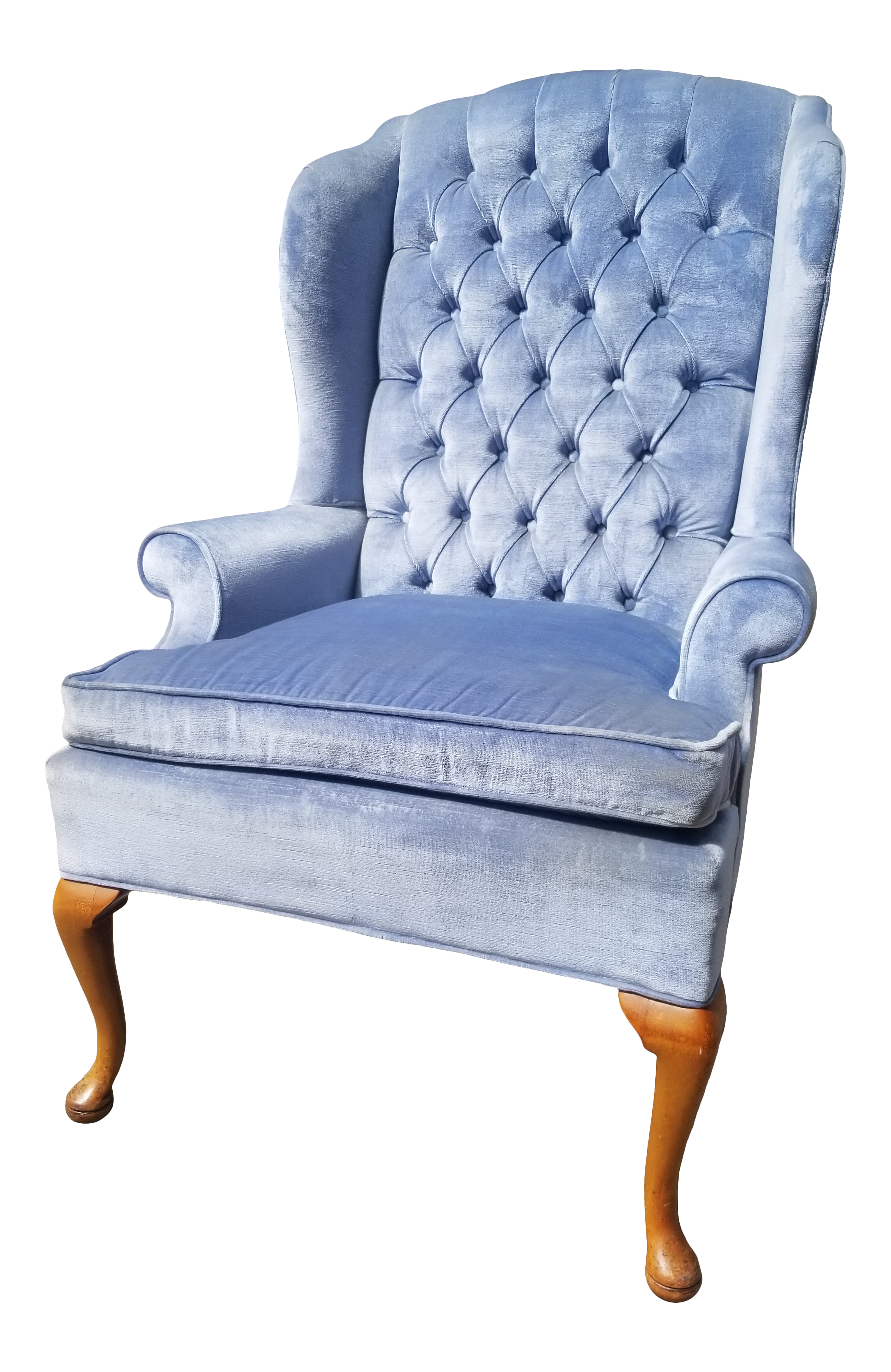 Miraculous 1960S Vintage Ice Blue Velvet Wingback Chair Alphanode Cool Chair Designs And Ideas Alphanodeonline