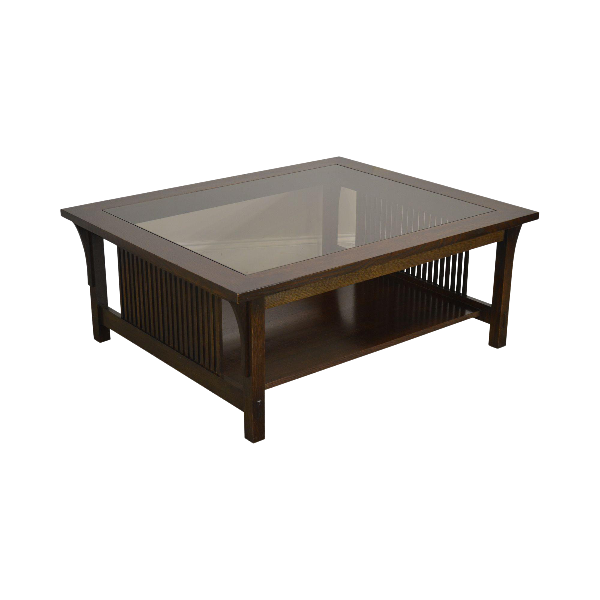 Stickley Mission Collection Oak Glass Top Cocktail Coffee Table