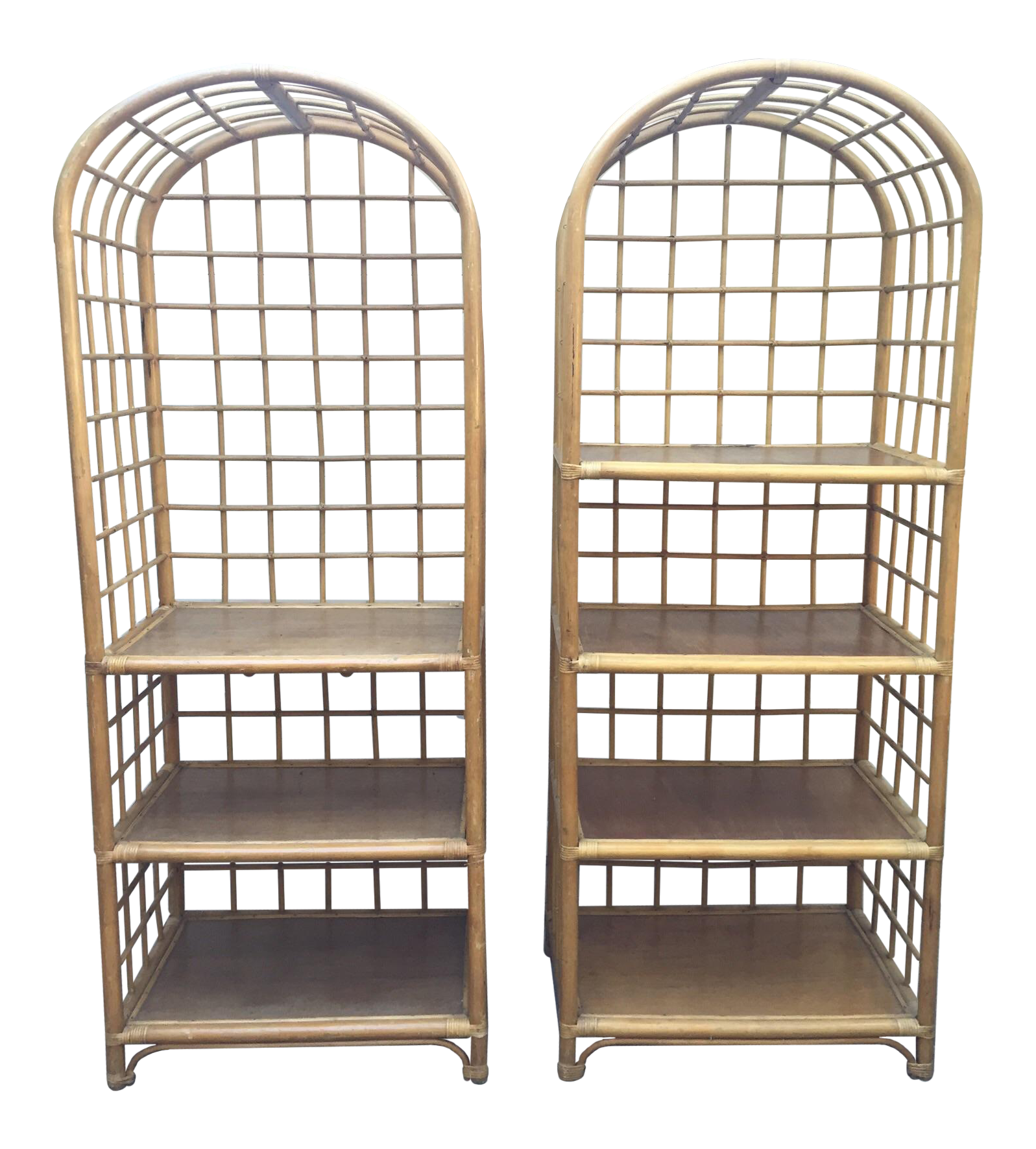 vintage bamboo etagere pair chairish. Black Bedroom Furniture Sets. Home Design Ideas