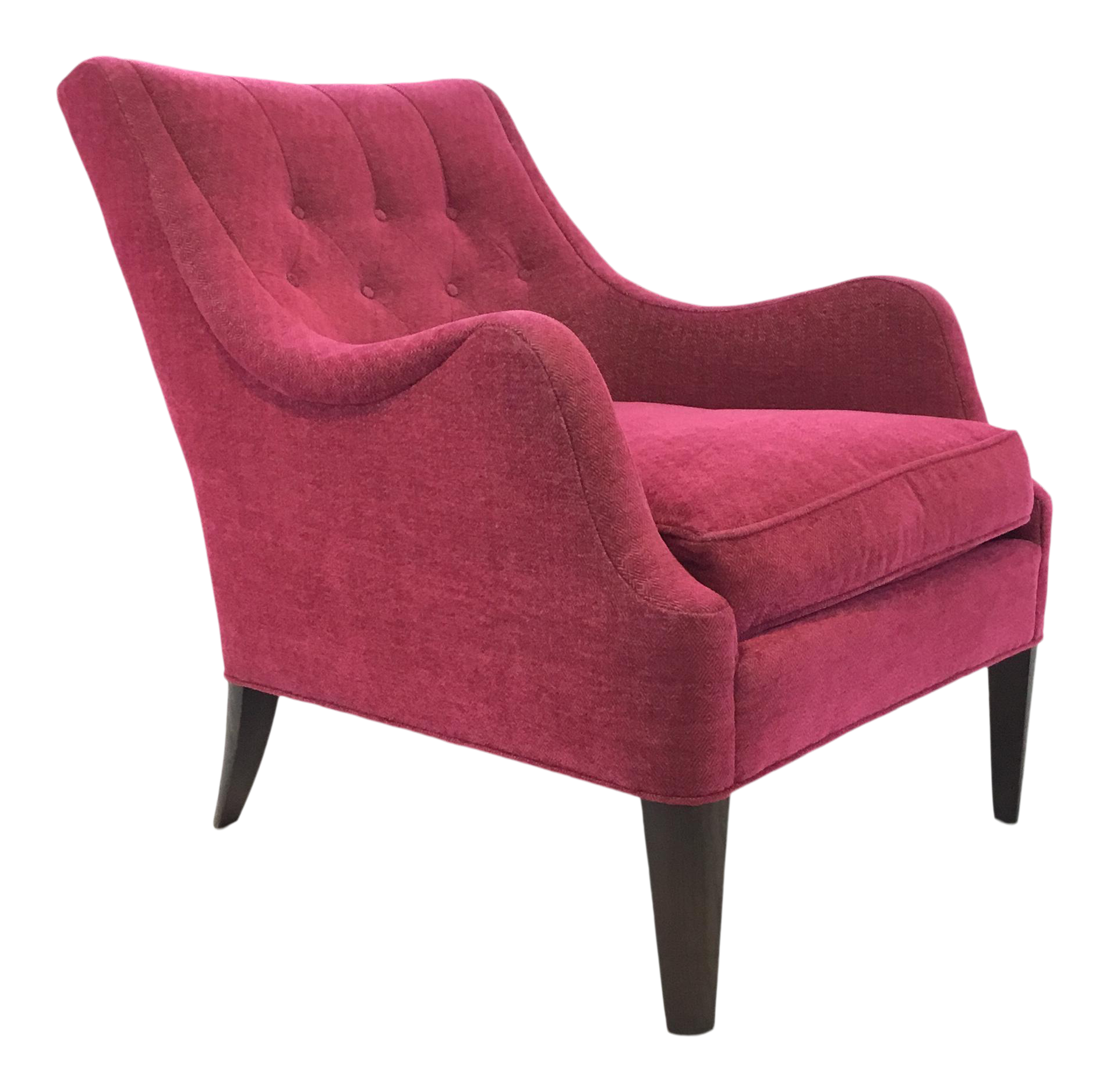 Hickory Chair Modern Tufted Pink Chennile Lounge Chair