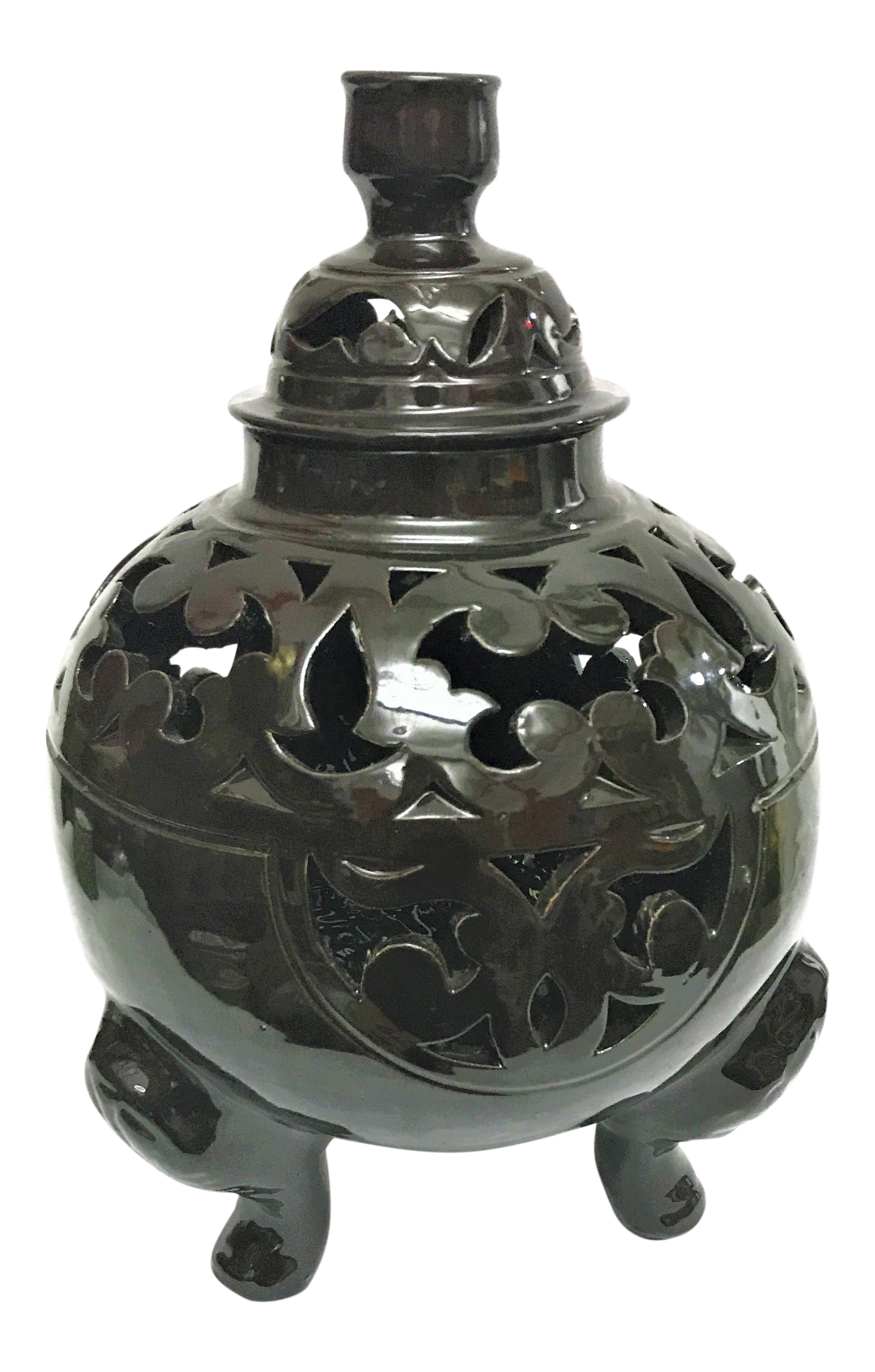 Moroccan black handcrafted ceramic vase with lid chairish reviewsmspy