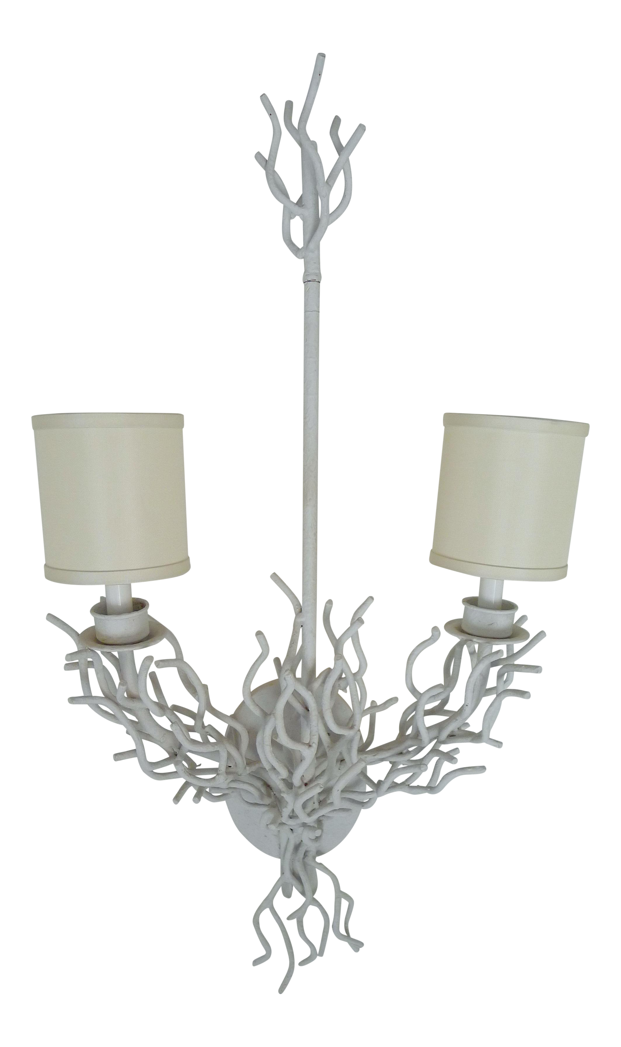 1970s White Faux Coral Wall Sconce Chairish