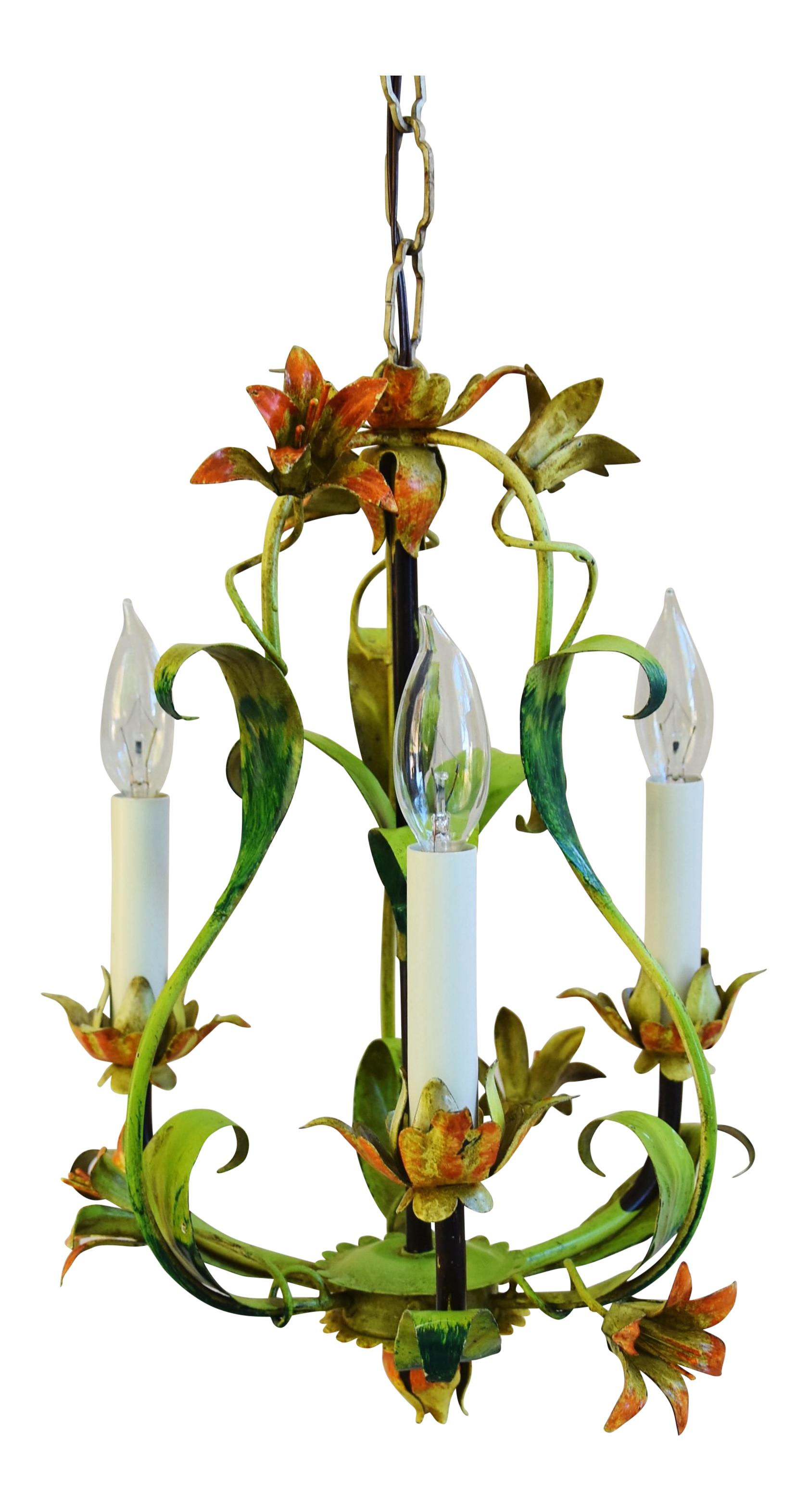 Vintage italian three armlight lily flower tole chandelier chairish arubaitofo Image collections