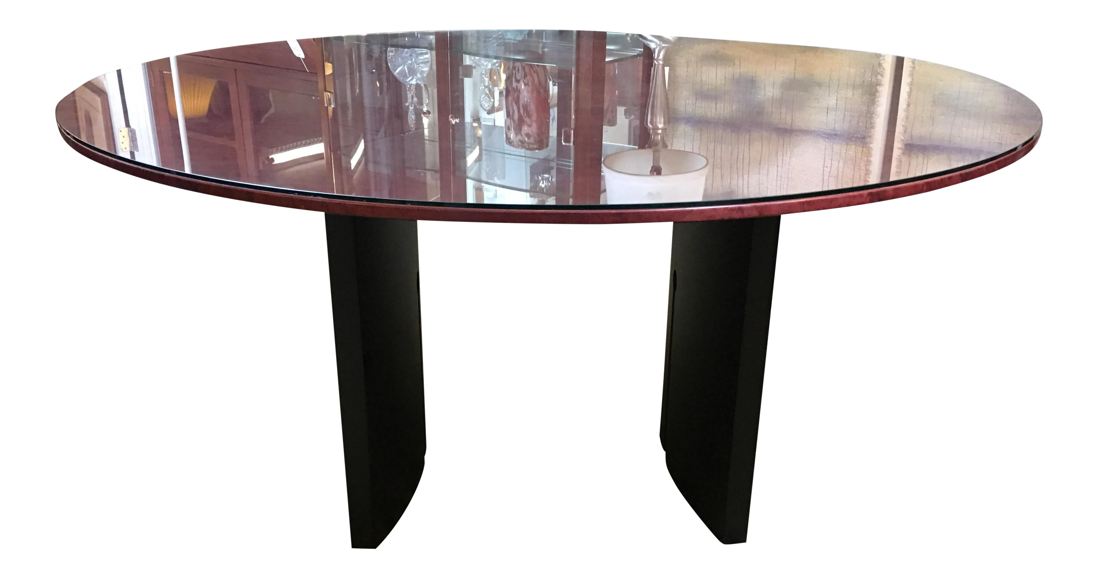 Round Birdseye Maple Dining Table with Glass Top