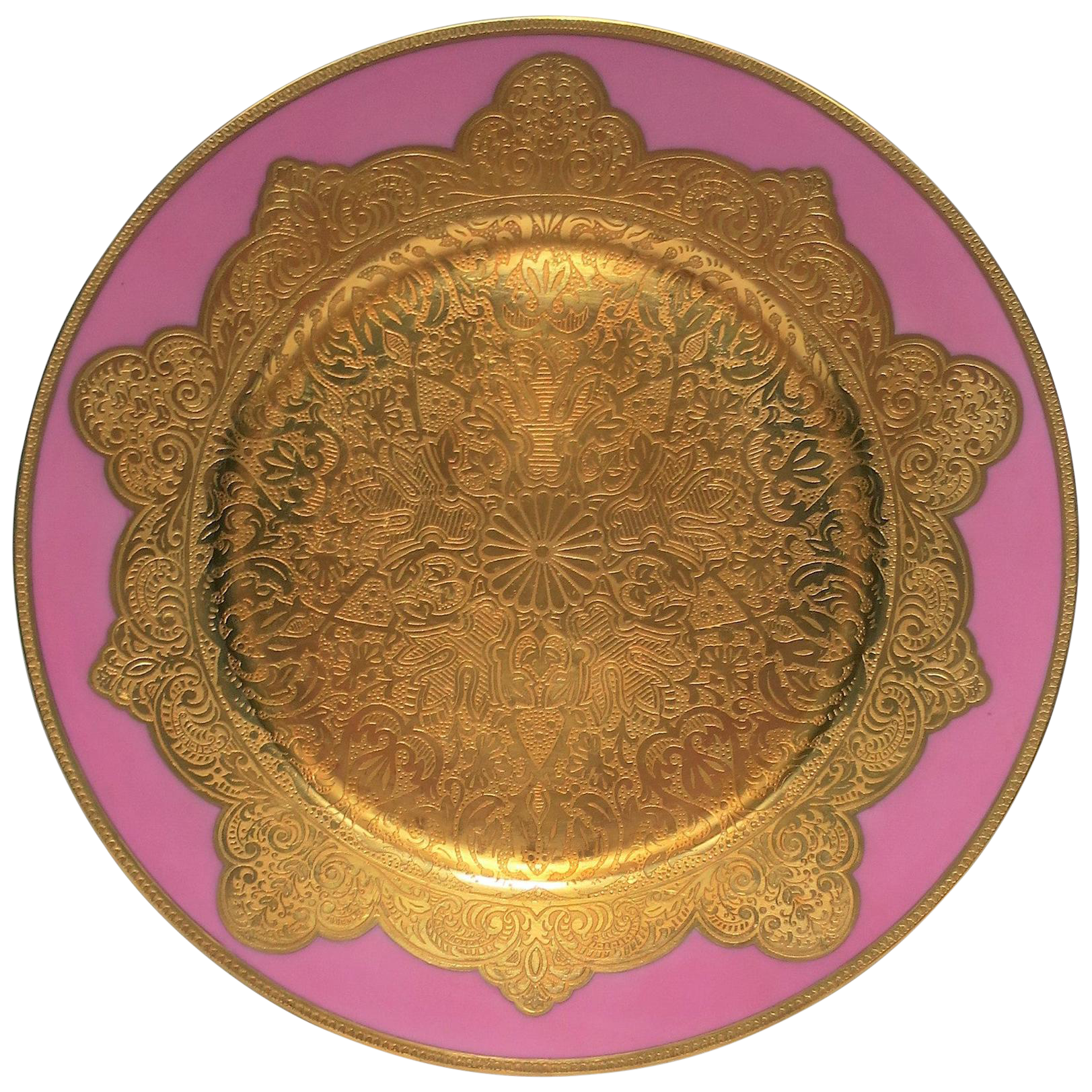 German Pink And Gold Plate Or Wall Art Chairish