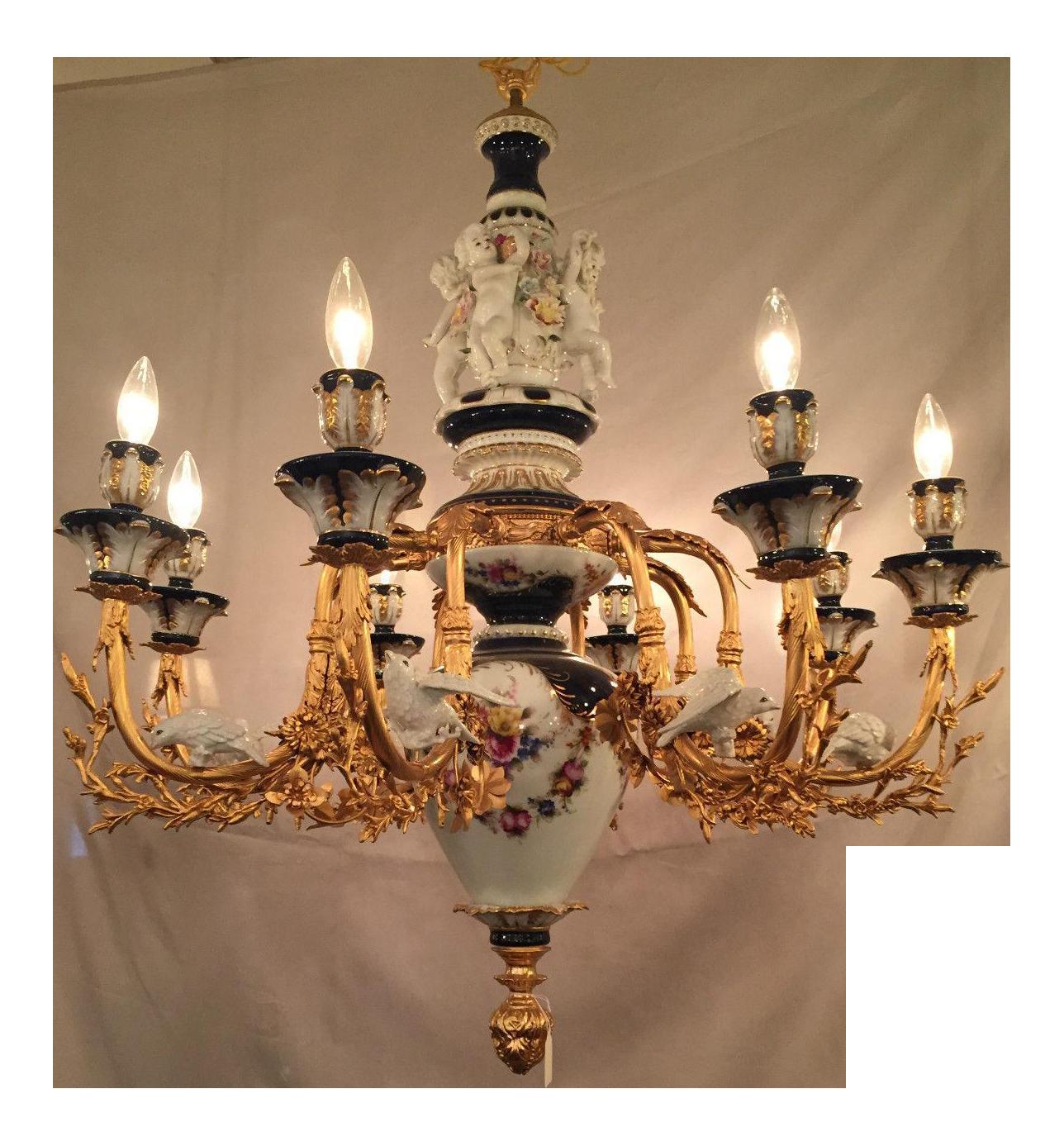 Dresden meissen style porcelain chandelier chairish arubaitofo Images