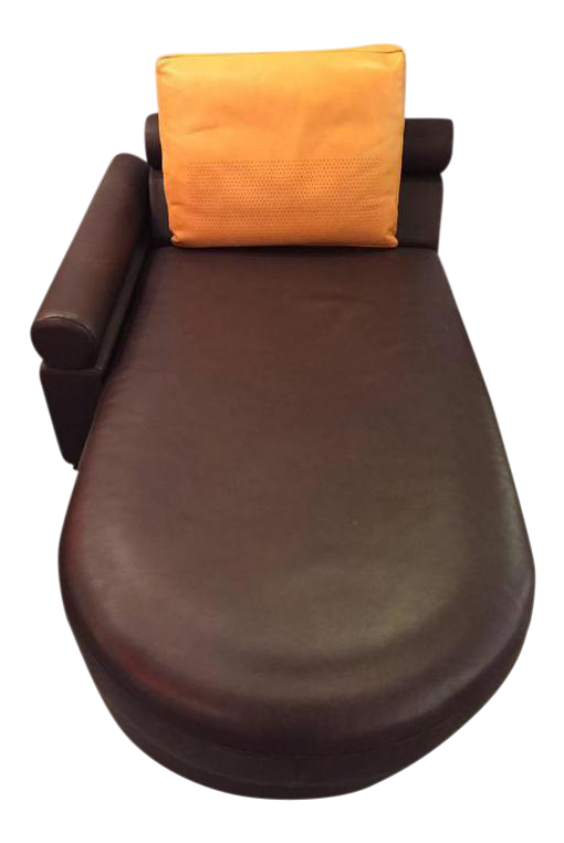 Lovely Roche Bobois Brown Leather Chaise Longue Or Daybed   DECASO