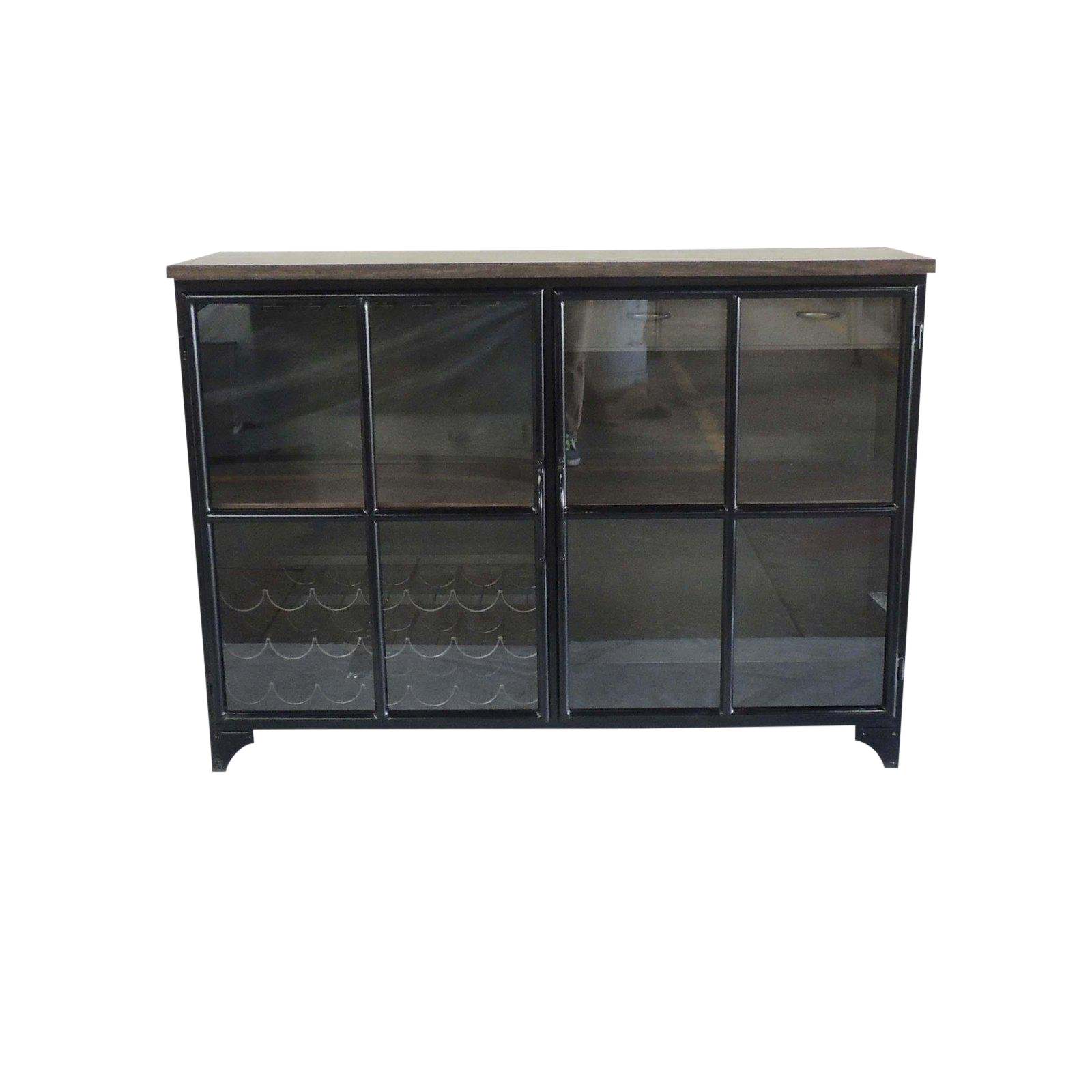 Contemporary Odila Glass Door Bar Cabinet With Bottle And Glass Storage Chairish