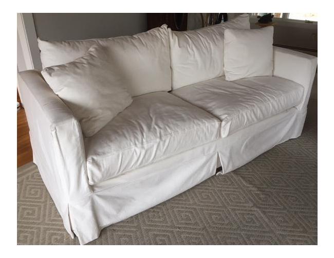 Crate Barrel White Slipcovered Sofa Chairish