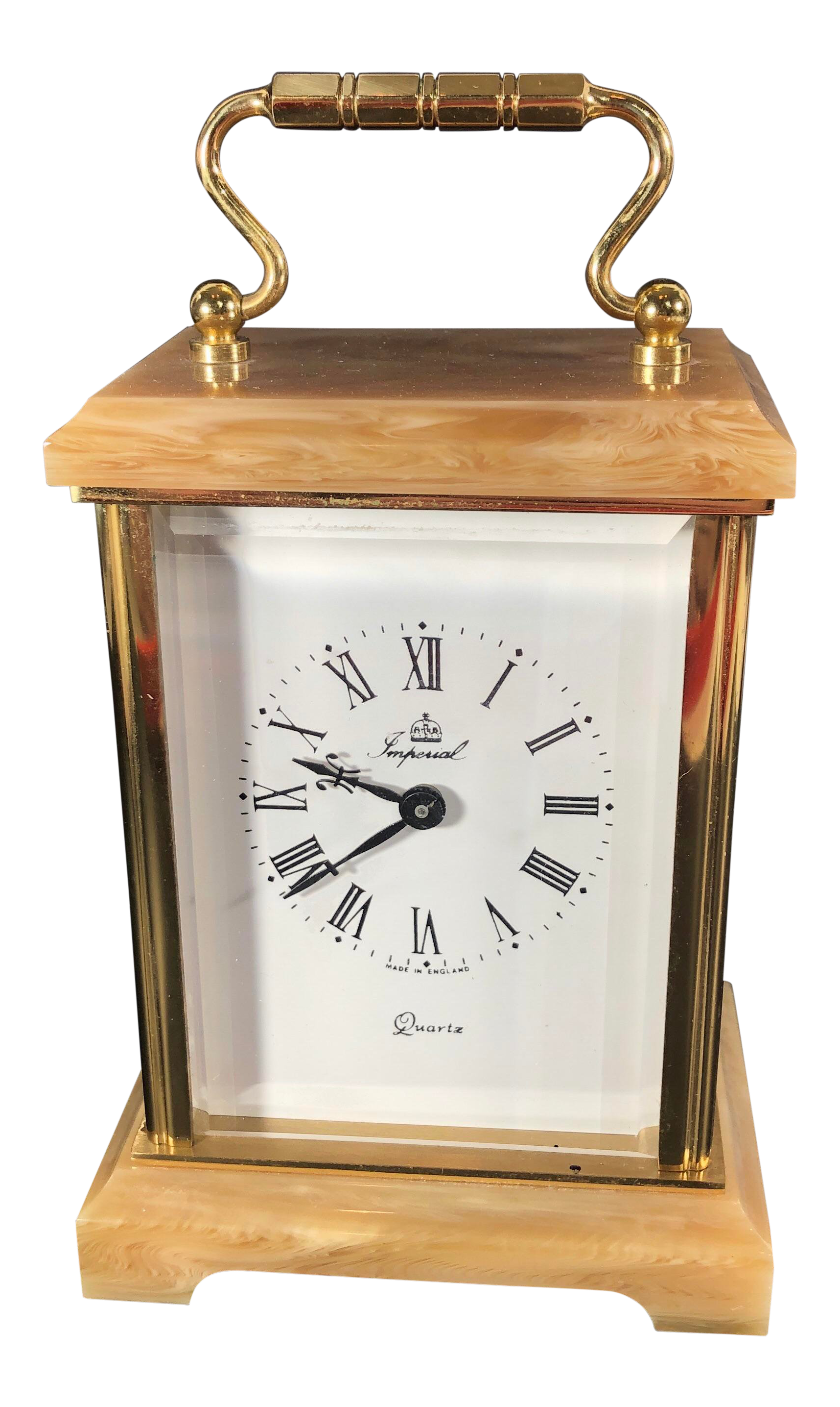 Mid Century Modern Brass and Stone Desk Clock Gold Mantle Office Clock
