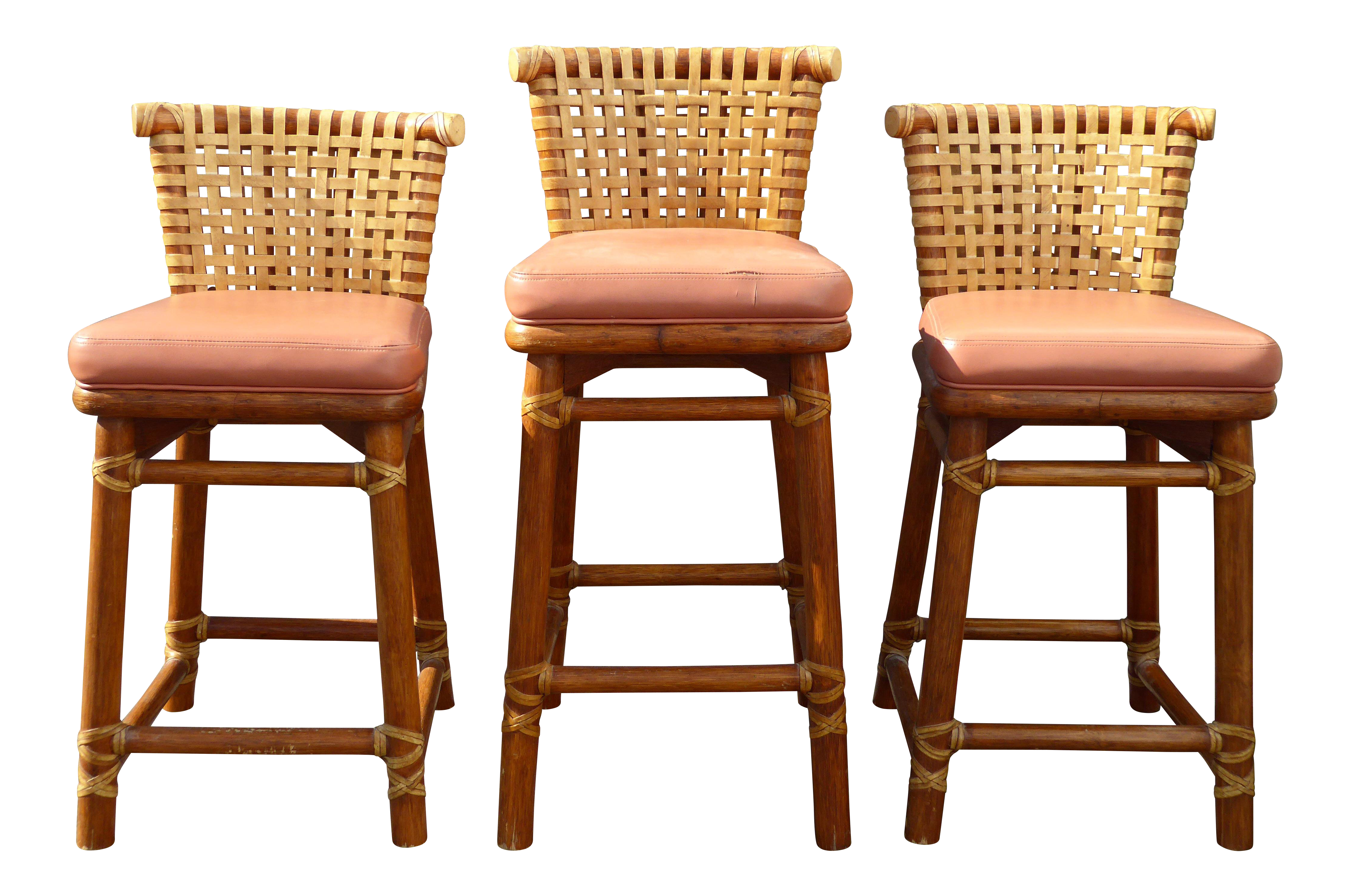 Mcguire bamboo barstools with laced rawhide set of 3 chairish