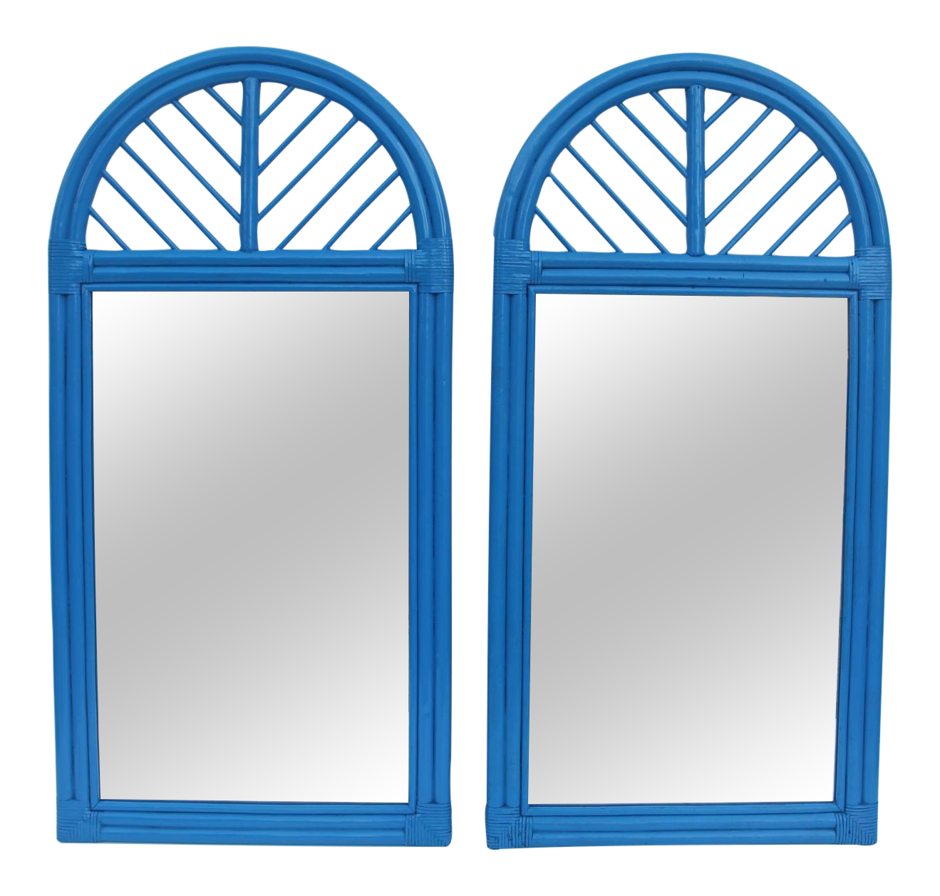 Mcguire Rattan Arch Wall Mirrors Pair Chairish