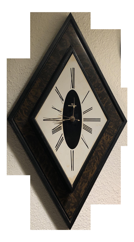 Image of: Mid Century Modern Diamond Shaped Waltham Wall Clock Chairish
