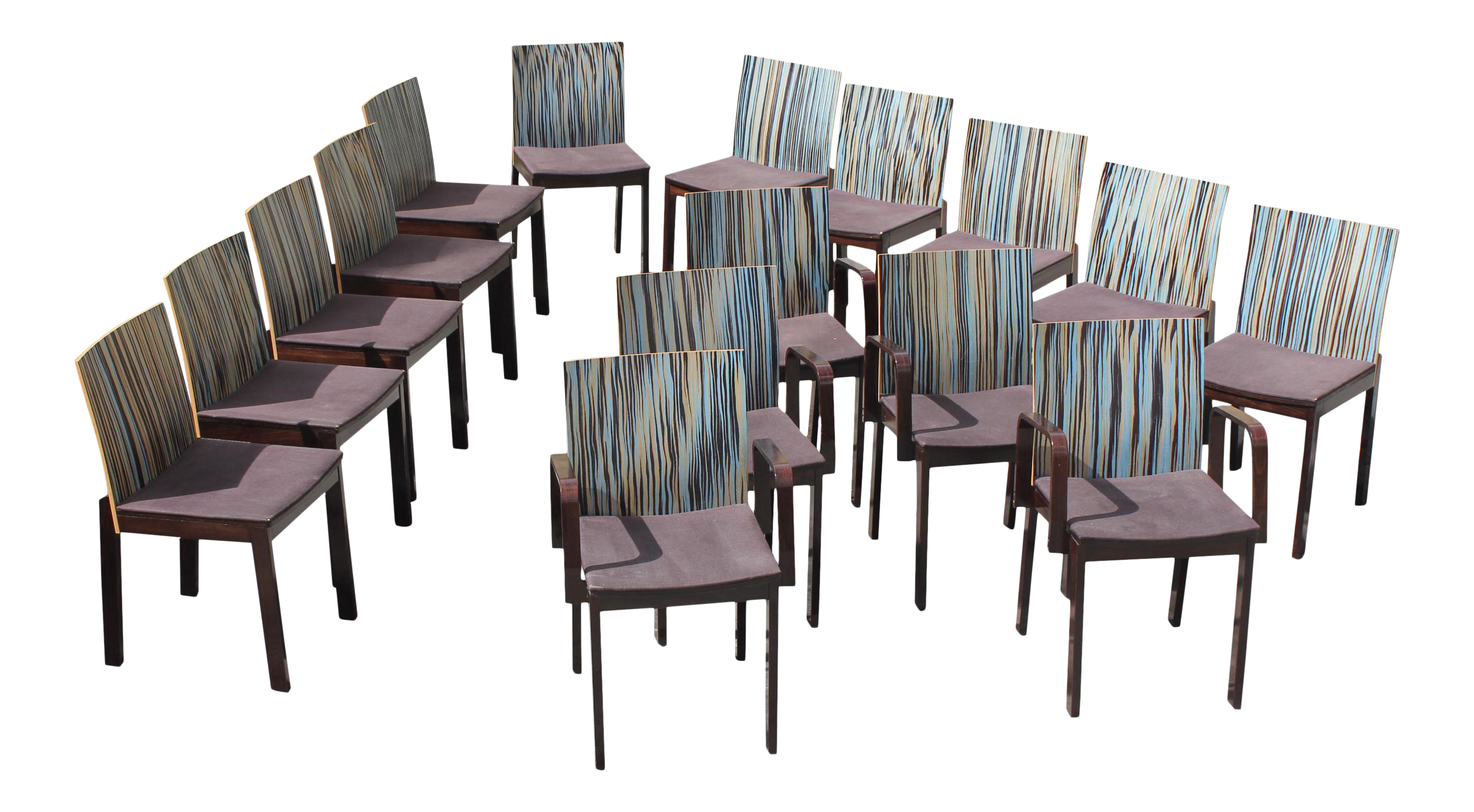 Fine 1940s french art deco modern stripes vertical dining chairs set of 16 decaso