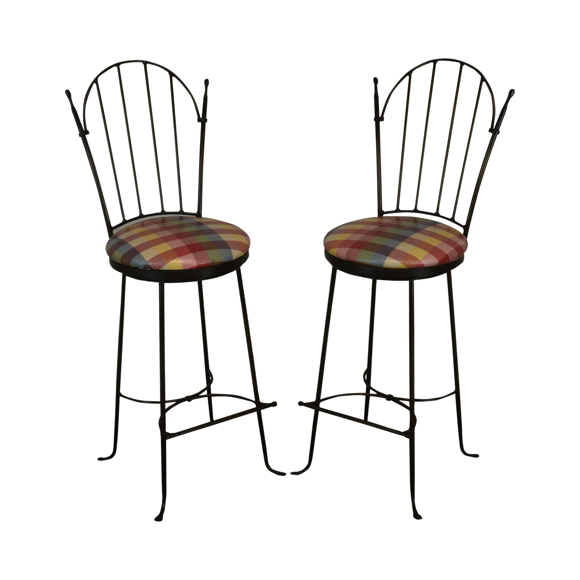 Awe Inspiring Charleston Forge Shaker Arch Pair Iron Swivel Bar Stools Caraccident5 Cool Chair Designs And Ideas Caraccident5Info