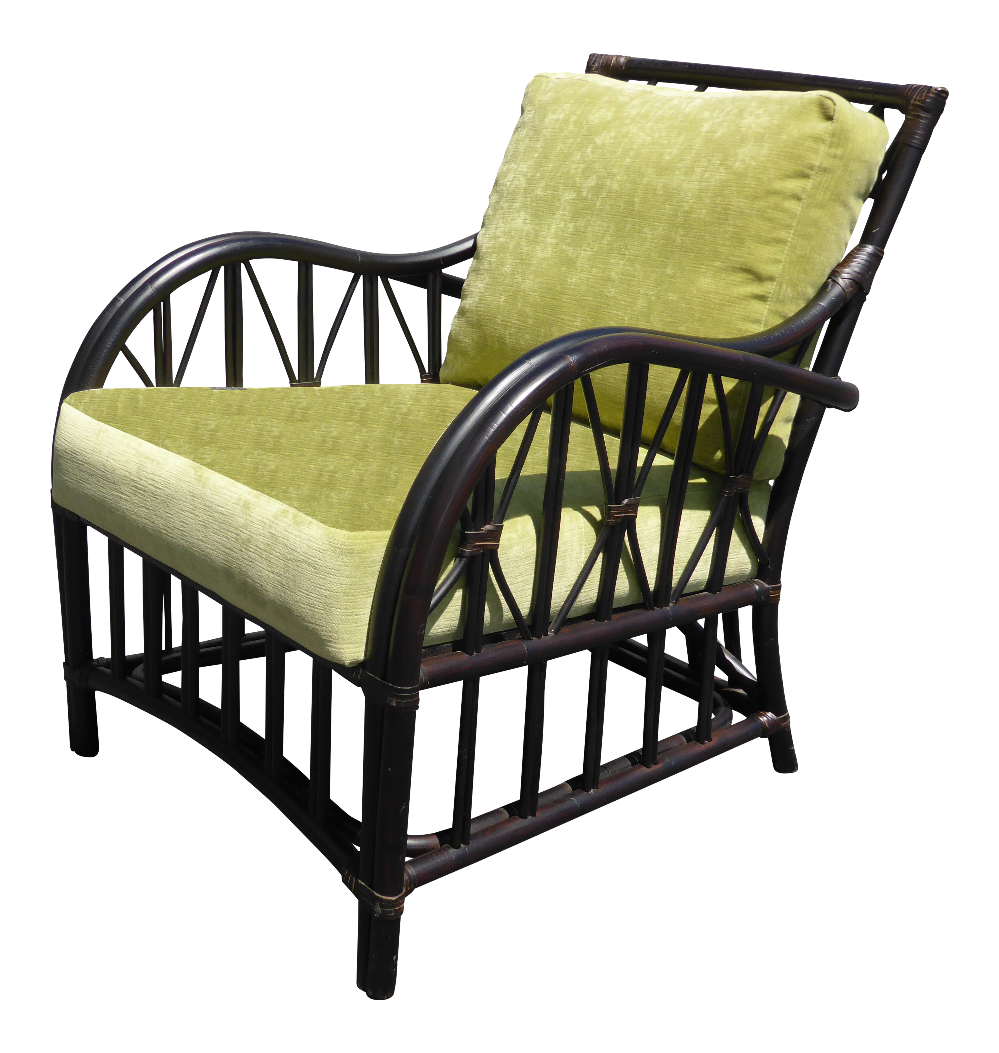 Palecek Furniture Rattan Faux Bamboo Arm Chair With Lime Cushions