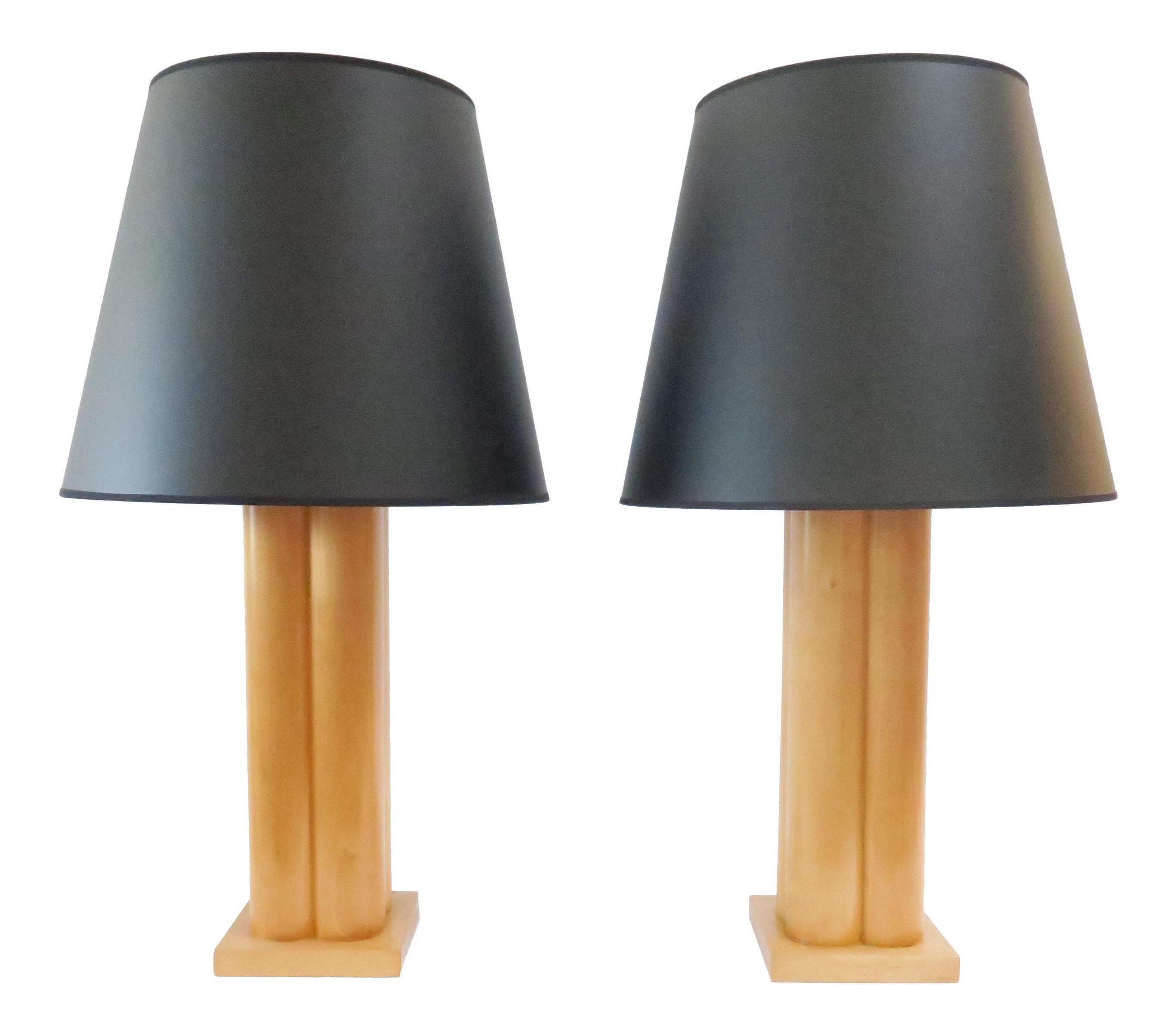 Vintage Wood Column Table Lamps A Pair