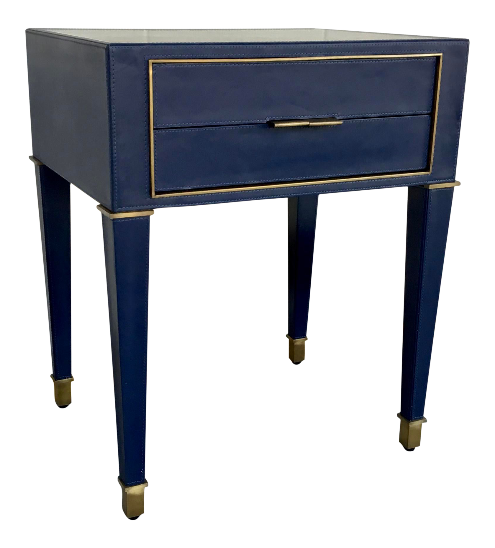 Bungalow 5 Modern Navy Blue Leather And Antique Brass Finish Hunter Two Drawer Side Table Chairish