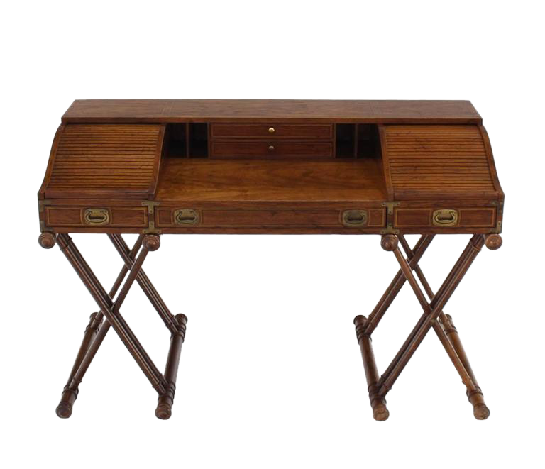 Distinguished Faux Bamboo Base Campaign Secretary Roll Top Style Desk Decaso