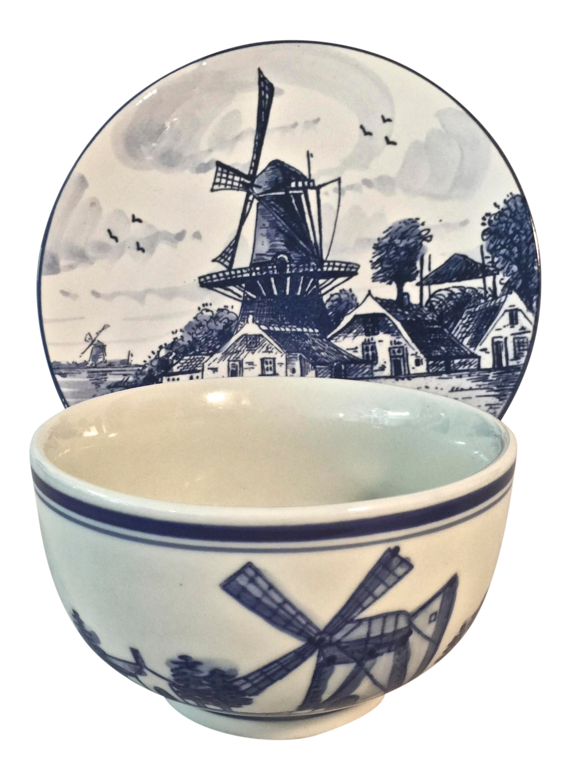 Vintage Delft Handpainted Decorative Bowl And Plate Set Of 2 Chairish