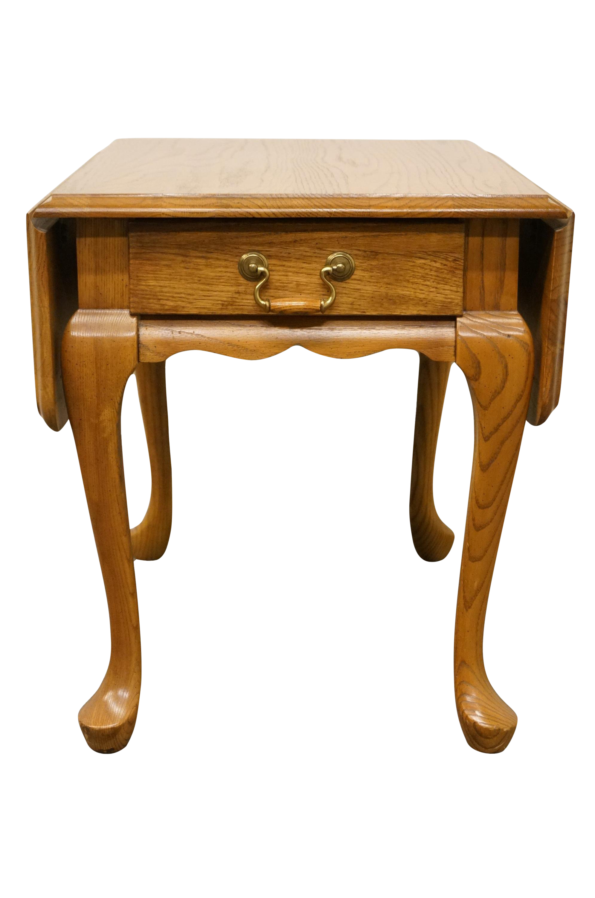 - 20th Century French Country Mersman Solid Oak Drop Leaf Accent End