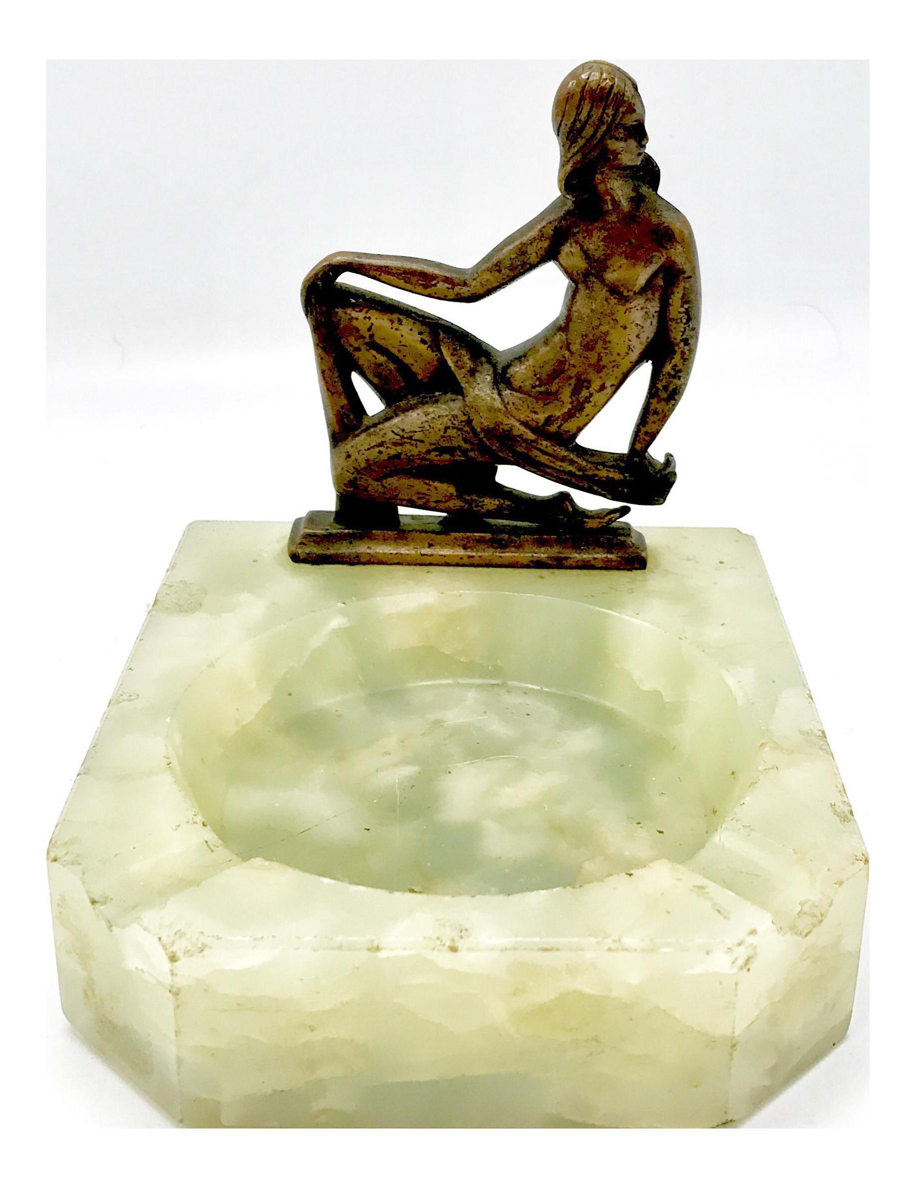 Art Deco Alabaster Ashtray With Nude Bronze Female Figure | Chairish