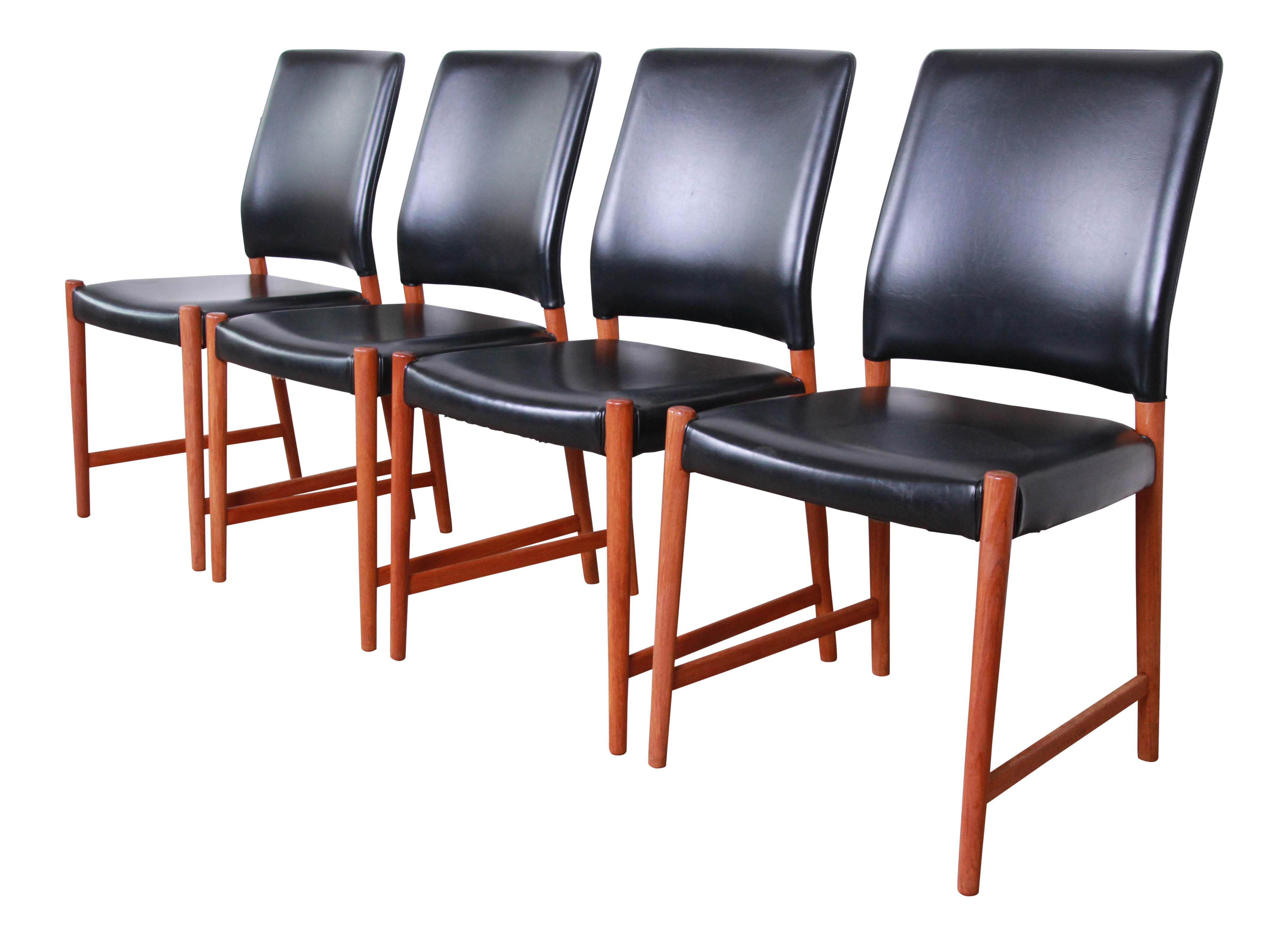Magnificent Torbjorn Afdal Teak And Black Leather Dining Chairs Set Of Four Creativecarmelina Interior Chair Design Creativecarmelinacom