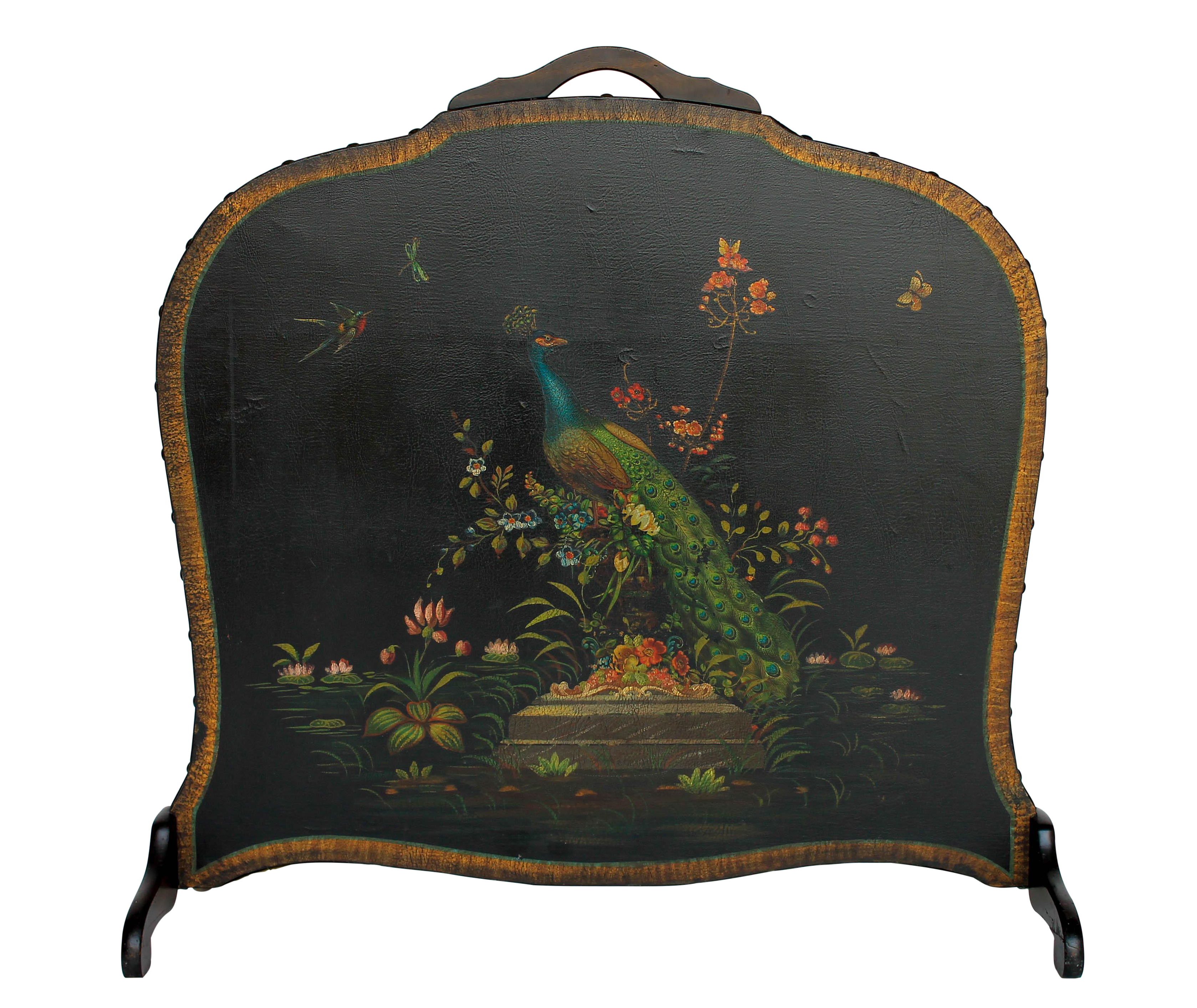 Hand painted leather wood fireplace screen chairish teraionfo