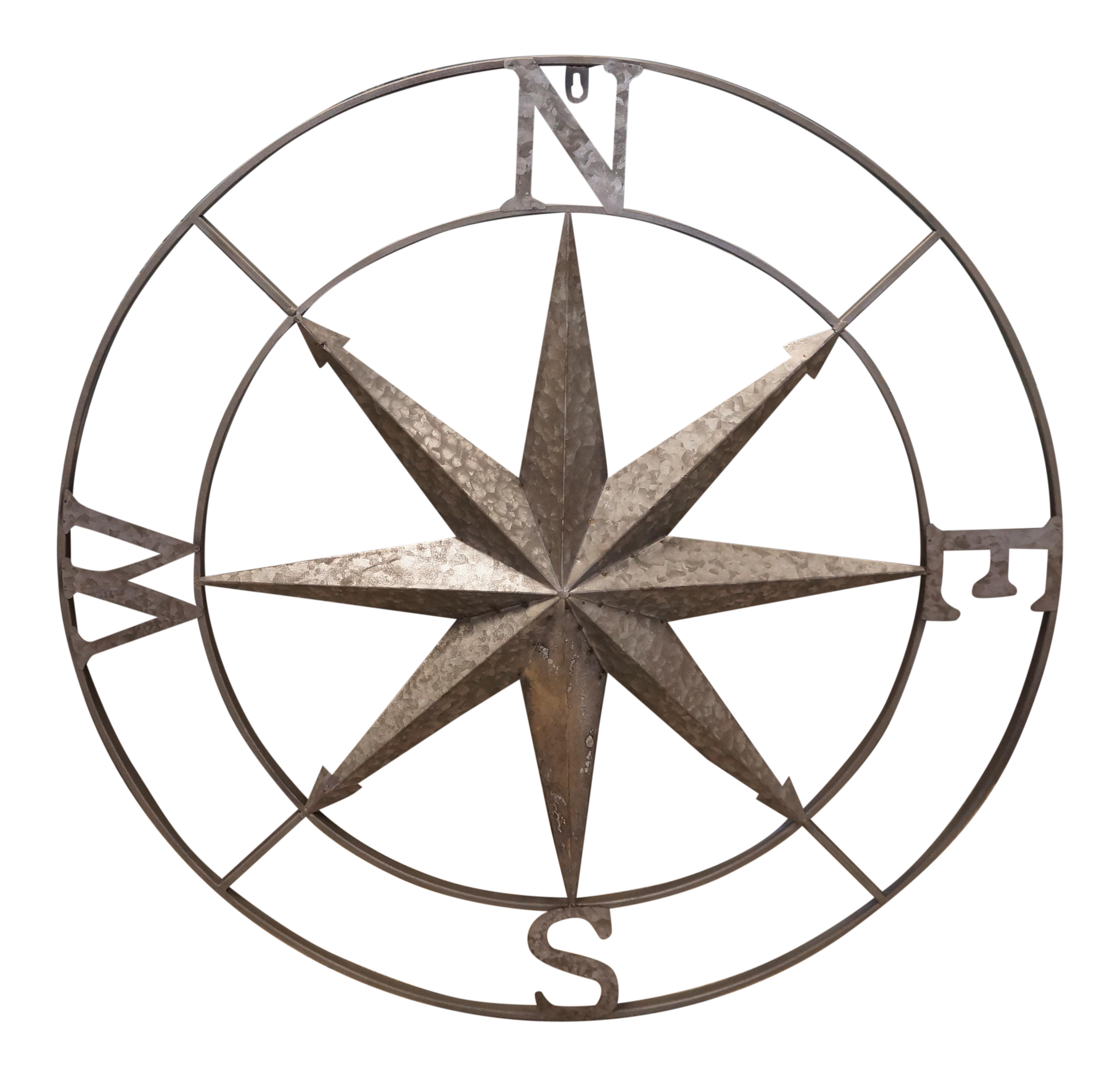 Galvanized Rustic Compass Industrial Star