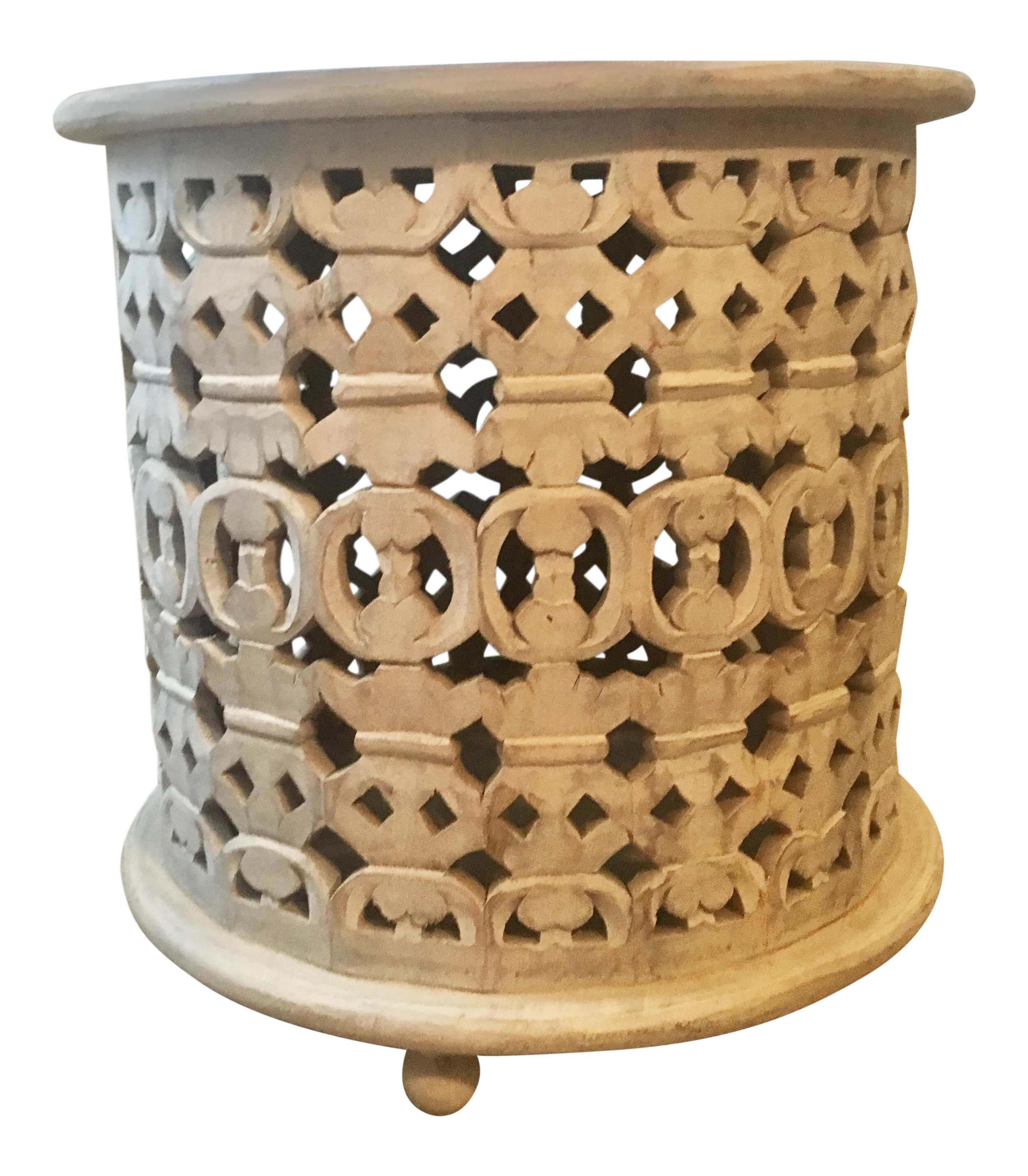 Moroccan Style Carved Mango Wood Side Table