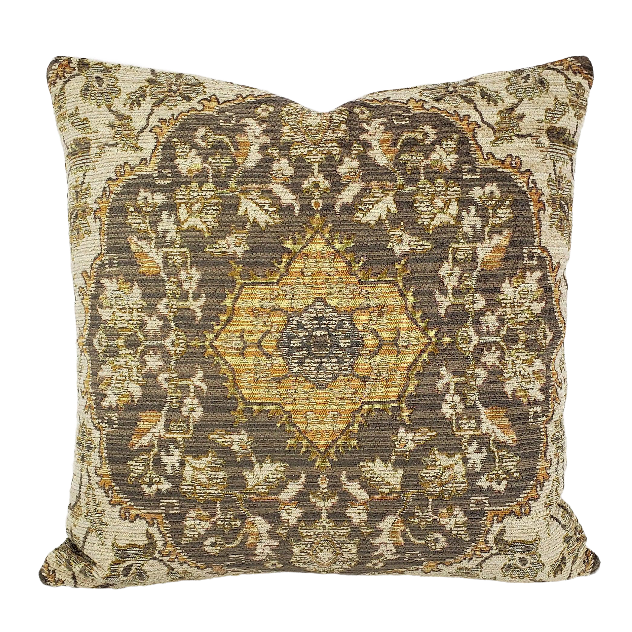 Kravet Design 33219 1611 20 X 20 Pillow Cover Gold Cream And Gray Damask Chenille Accent Cushion Case Chairish