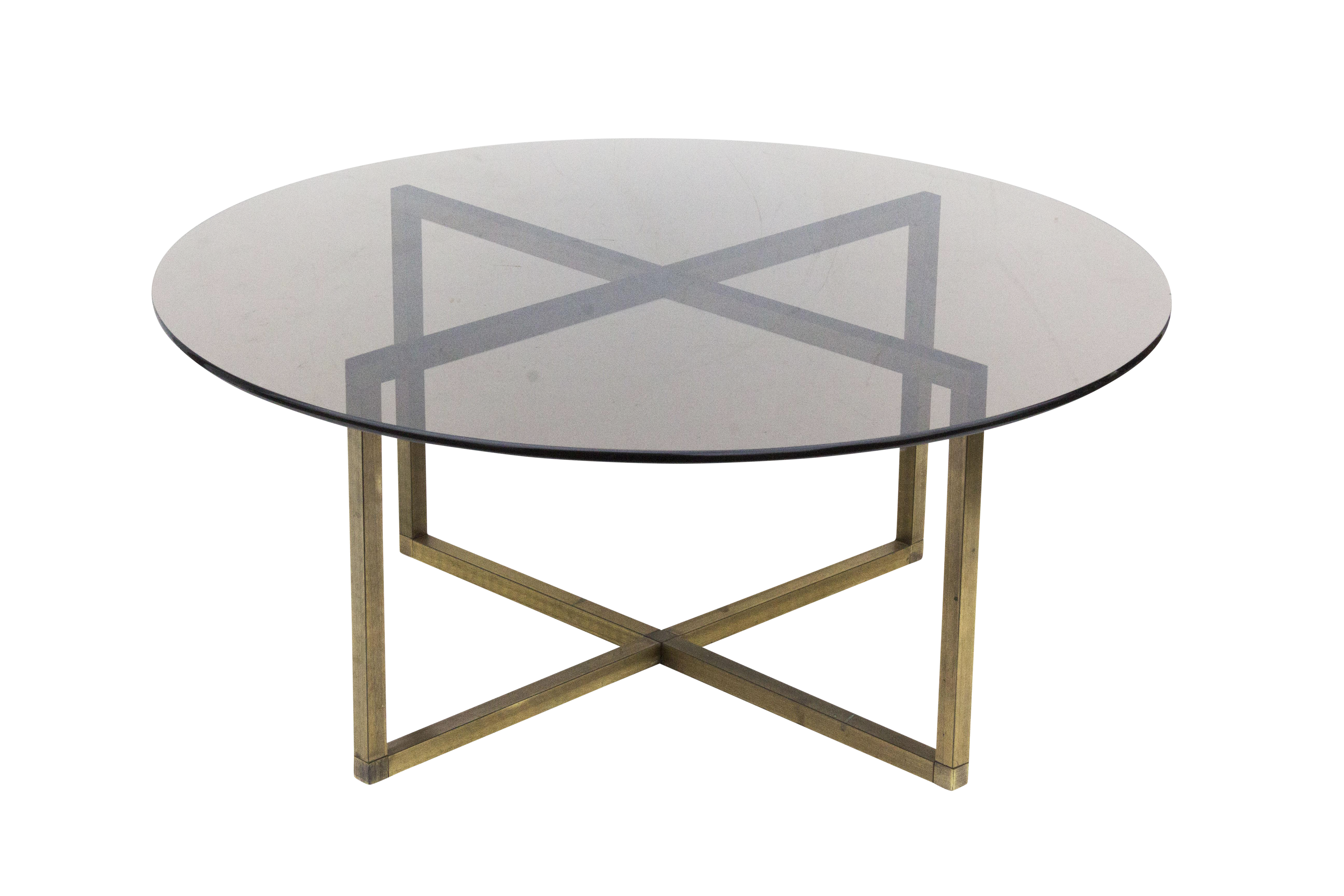 Round brass coffee table with x base and smoked glass top chairish