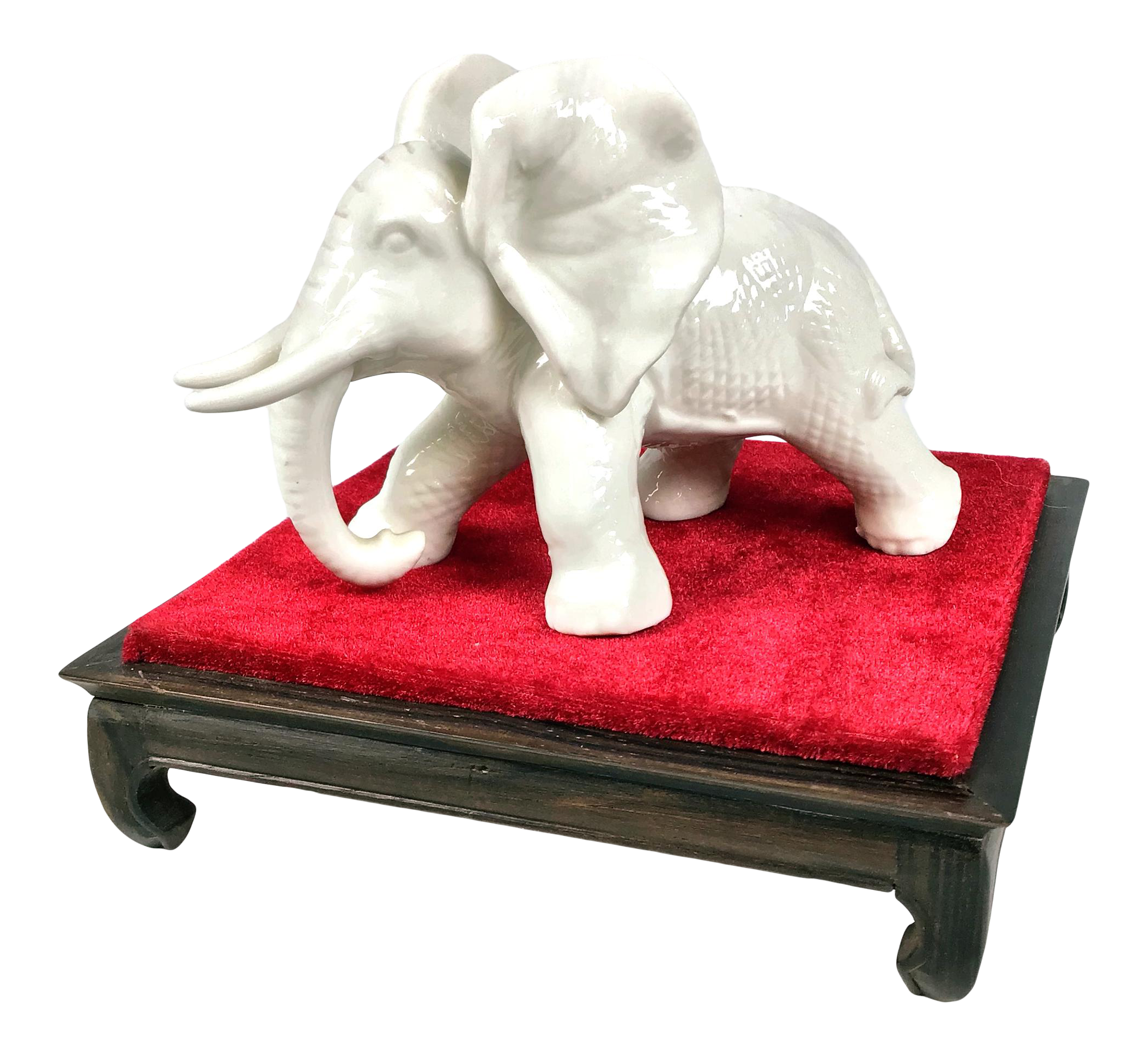 Vintage Porcelain Elephant With Stand
