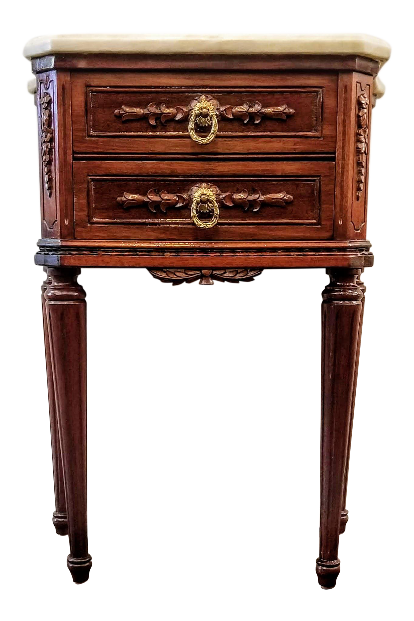 Vintage Louis Xvi Style Cherry Wood Nightstand With Marble Top Chairish