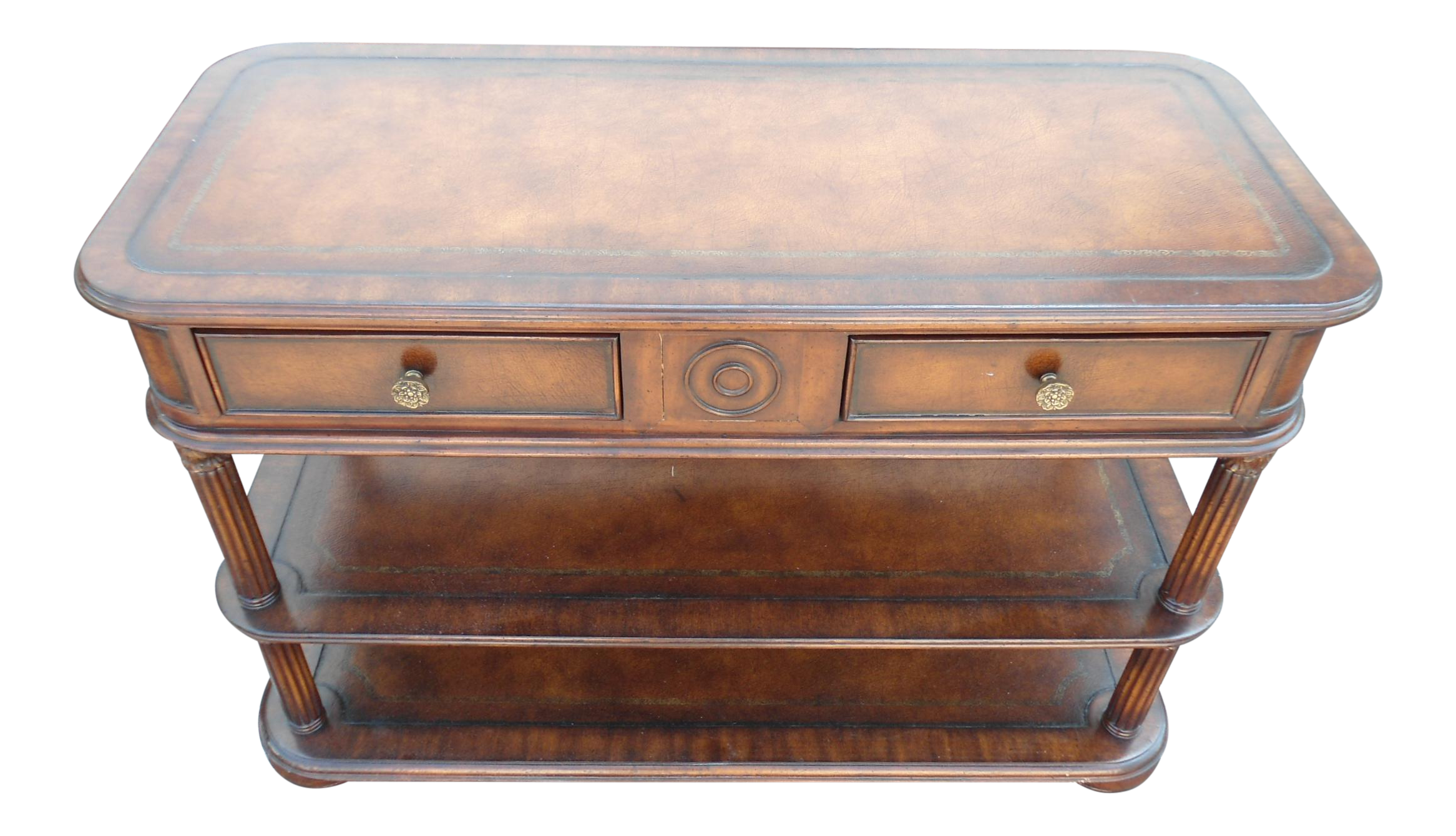 European crossroads leather top 3 tier console by john richards european crossroads leather top 3 tier console by john richards chairish arubaitofo Gallery