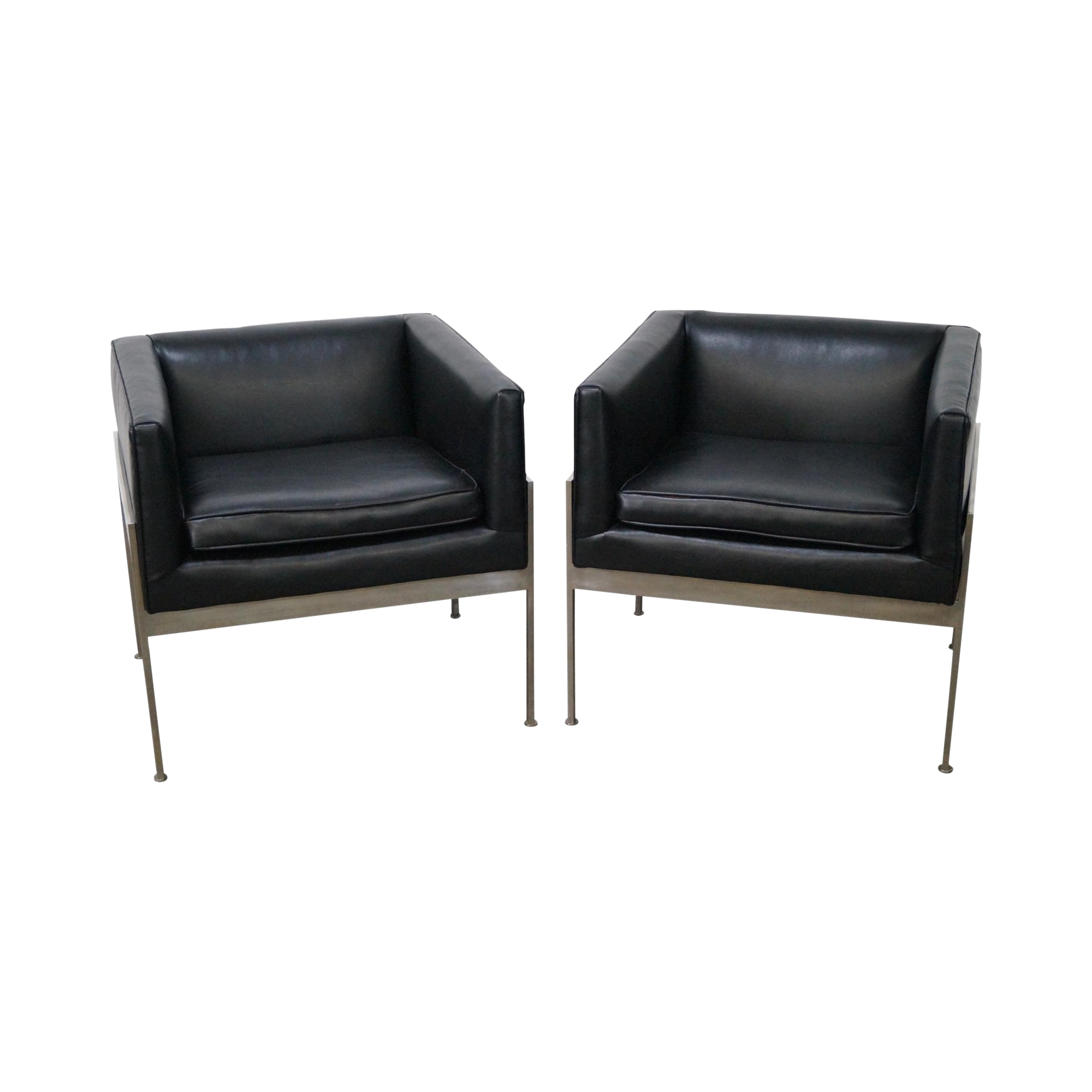 Tremendous Knoll Chrome Black Leather Lounge Chairs A Pair Theyellowbook Wood Chair Design Ideas Theyellowbookinfo