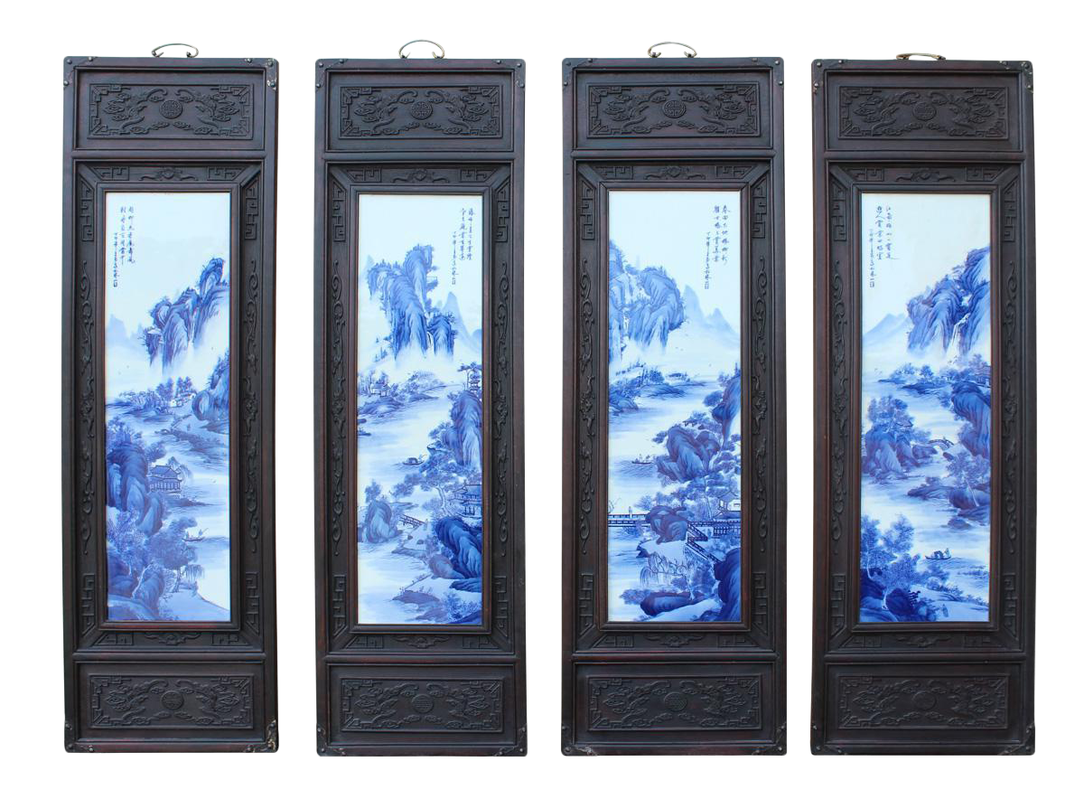 Chinese Blue Amp White Porcelain Scenery Wall Panels Set