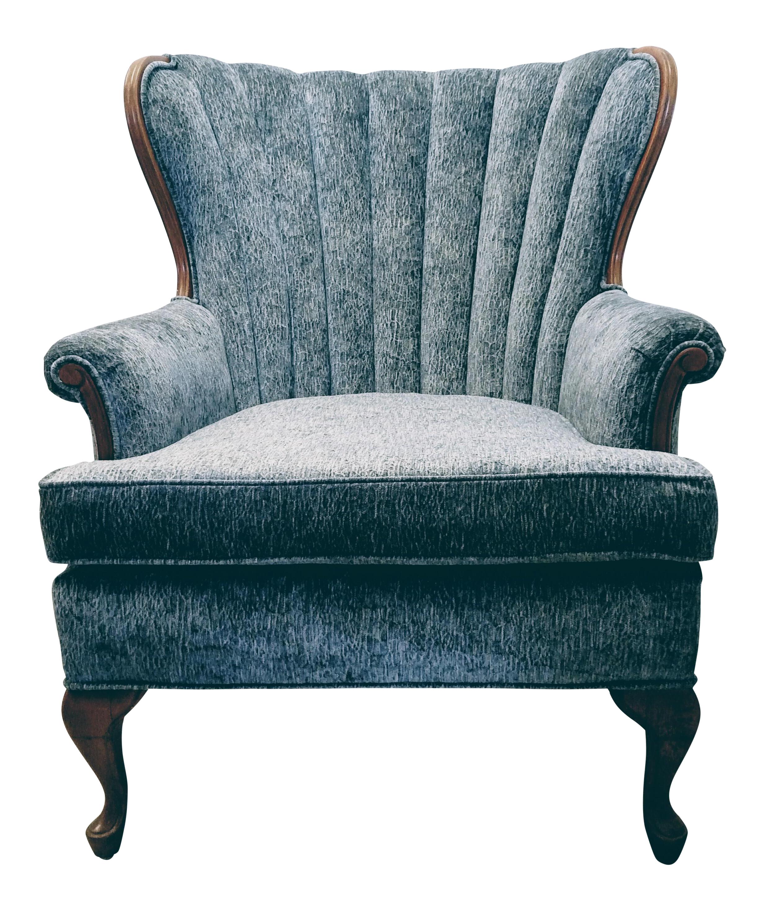 Vintage Channel Back Chair With Wood Trim | Chairish