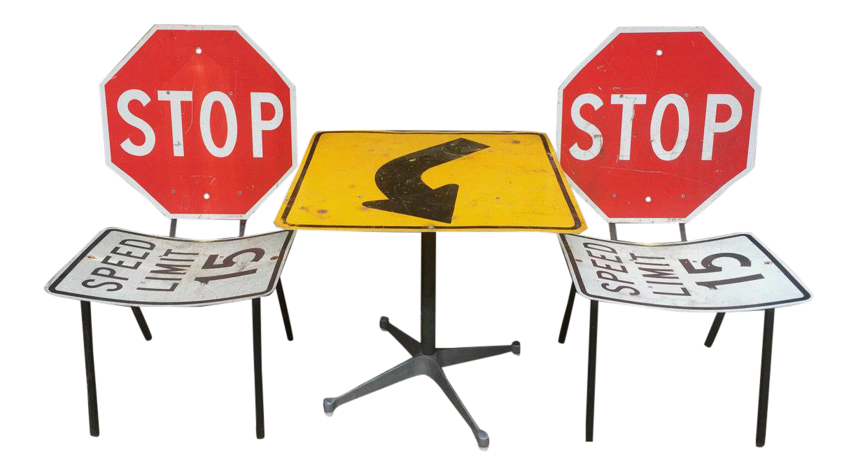 Industrial Road Sign Table U0026 Chairs   Set ...