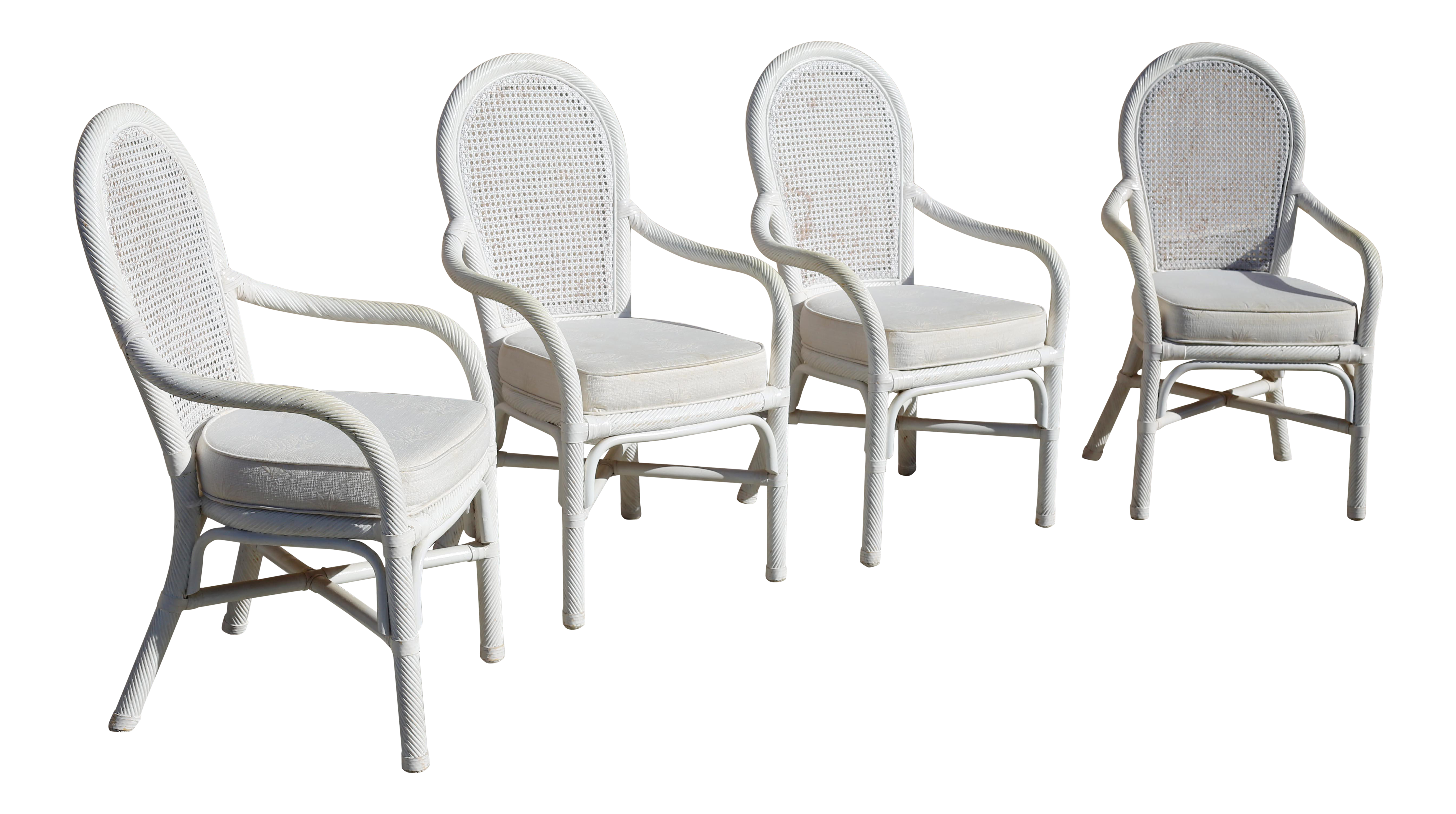 Vintage White Twisted Rattan Cane Back Dining Chairs Set Of 4 Chairish