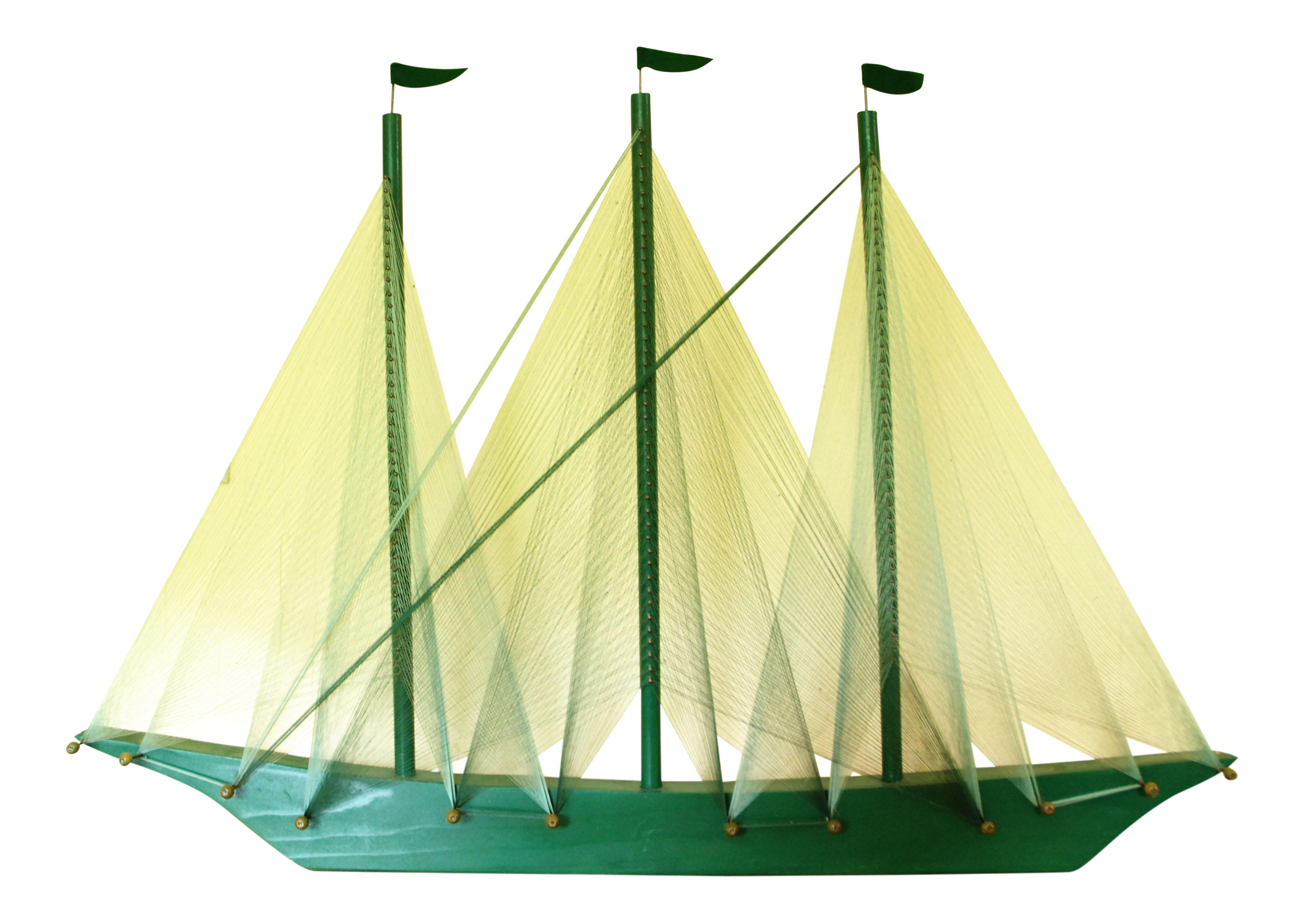Large Vintage Green String Art Sailing Ship | Chairish