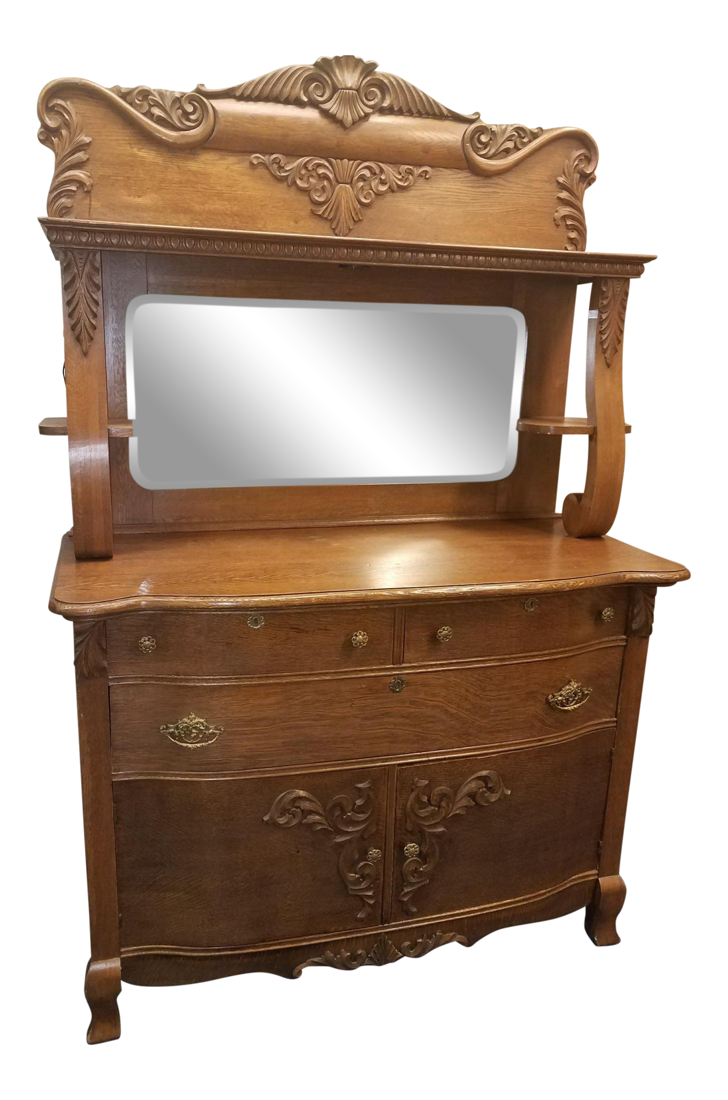 Picture of: Antique Oak Sideboard Buffet With Mirror Chairish